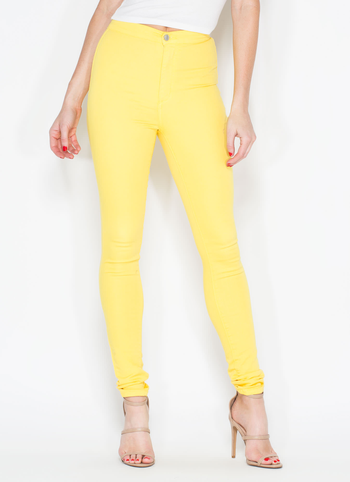 Yellow High Waisted Skinny Jeans - Jeans Am