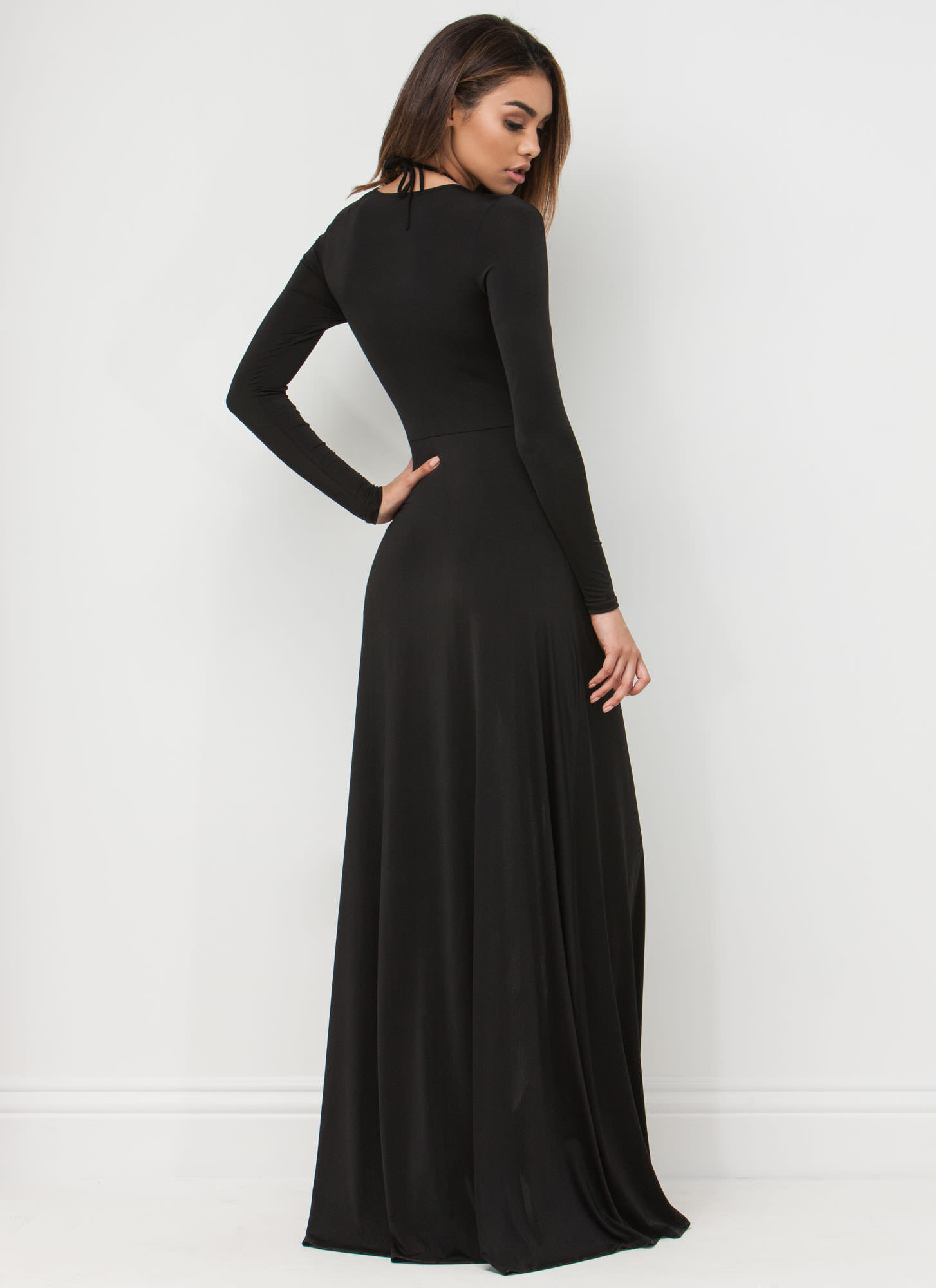 Sweeping Victory Lace-Up Maxi BLACK