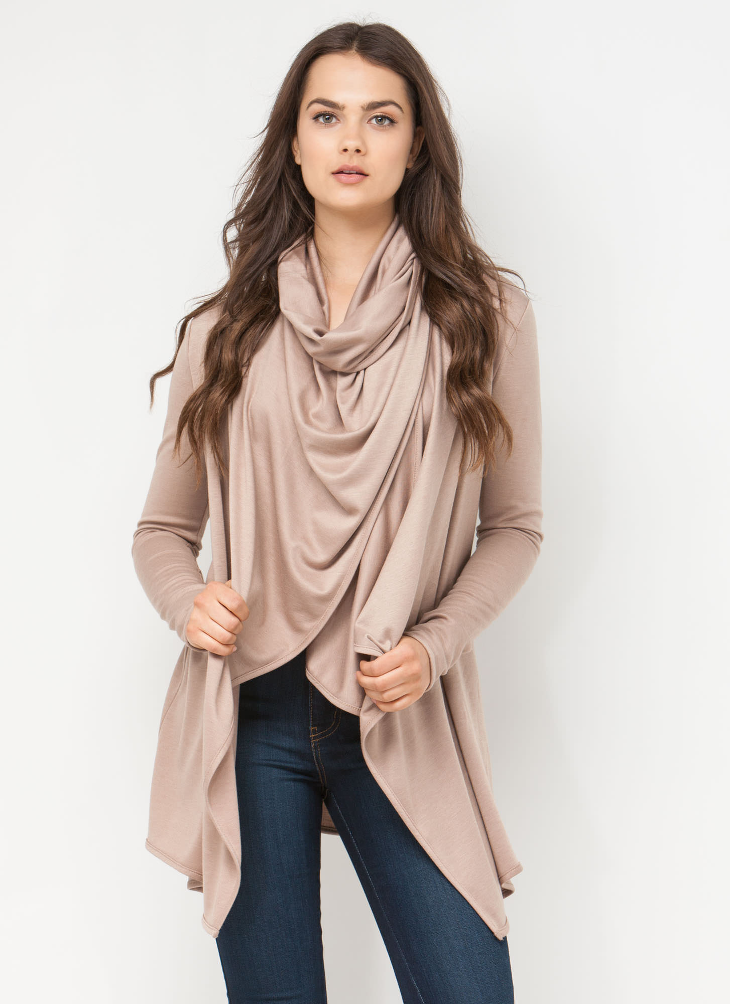 Chic Blogger Draped Jacket COFFEE