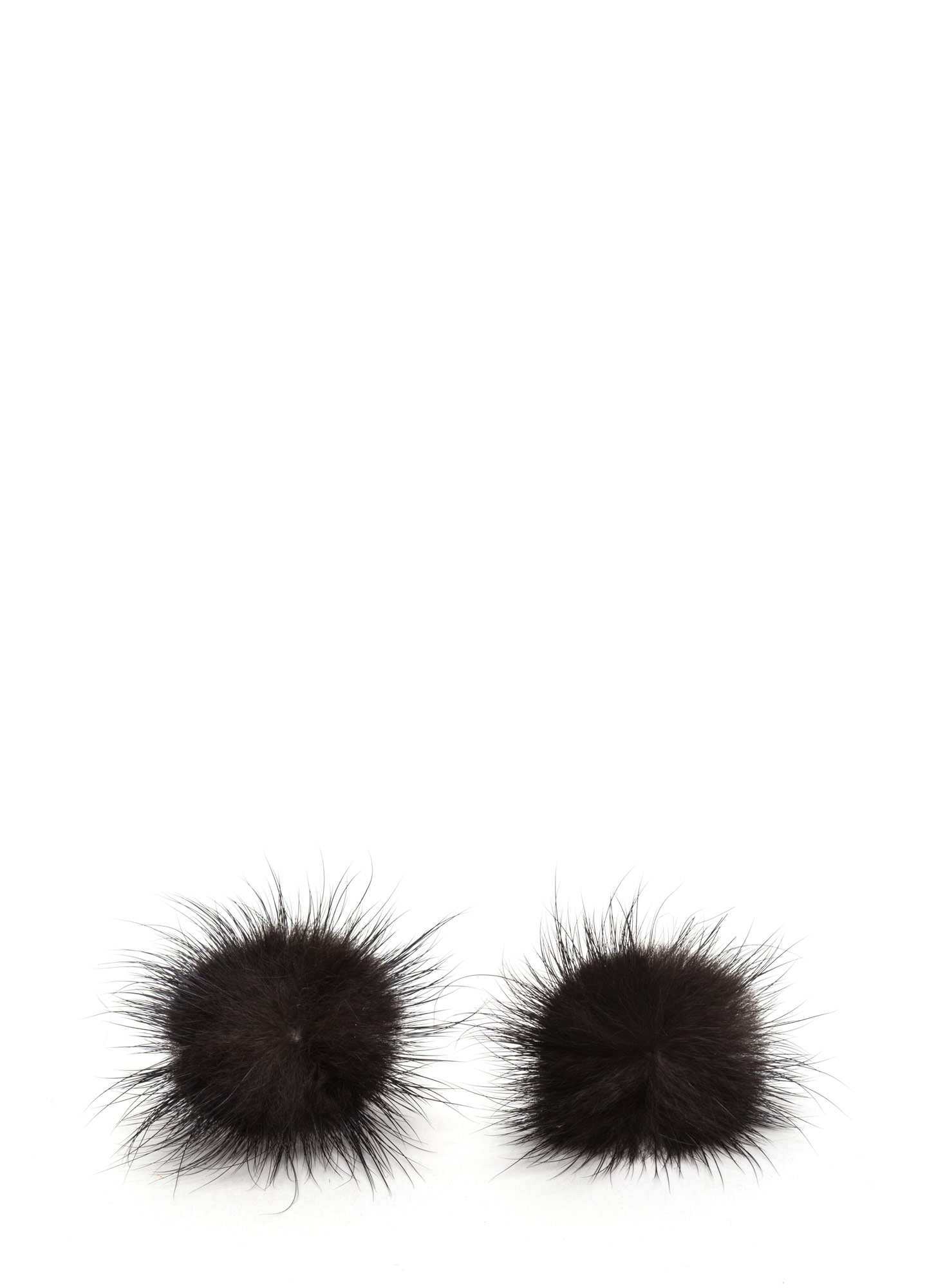 Faux Fur A Change Earrings  BLACK