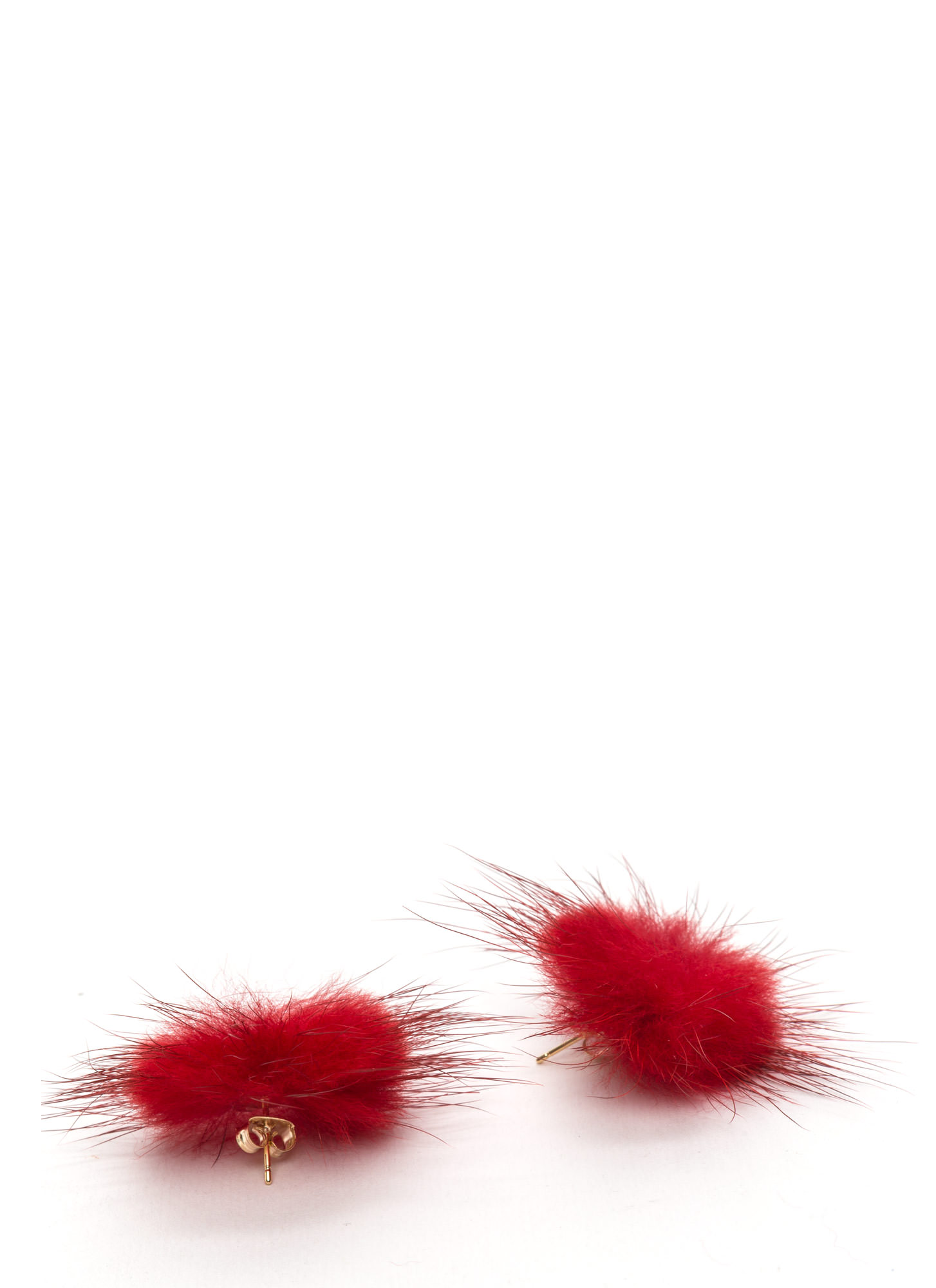 Faux Fur A Change Earrings  RED