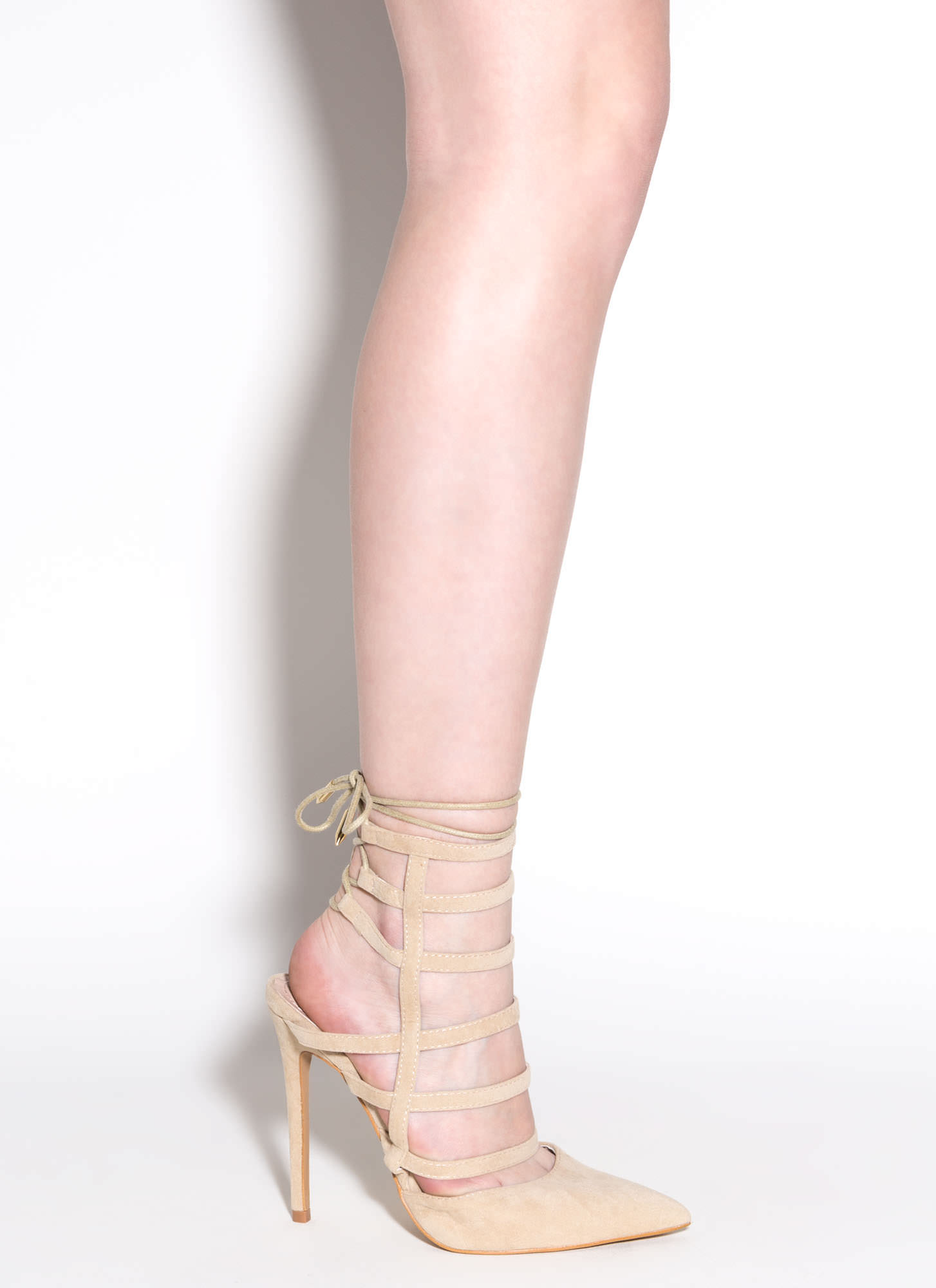 High Stakes Faux Suede Heels CAMEL