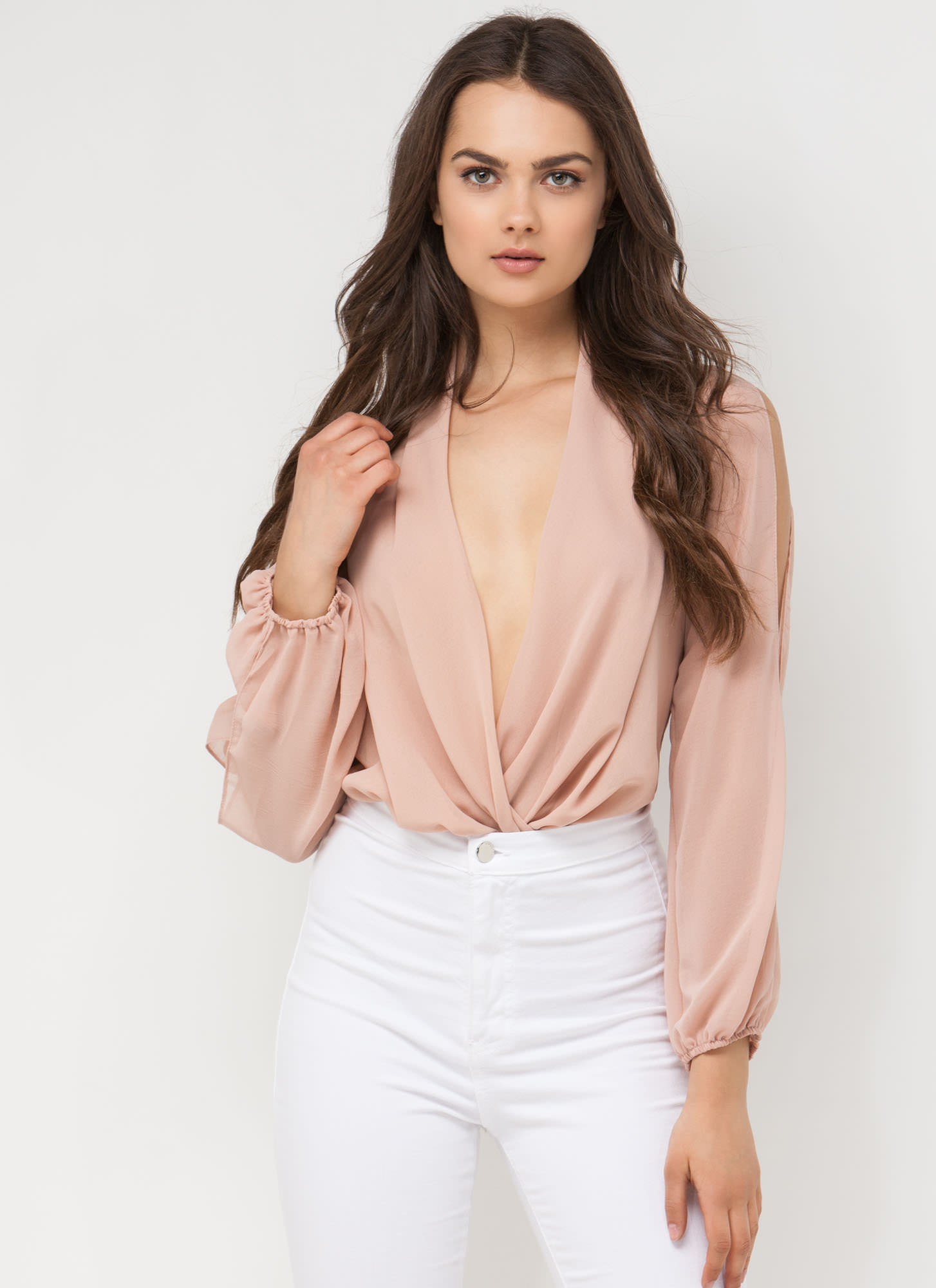 Take Drape Chiffon Bodysuit BLUSH