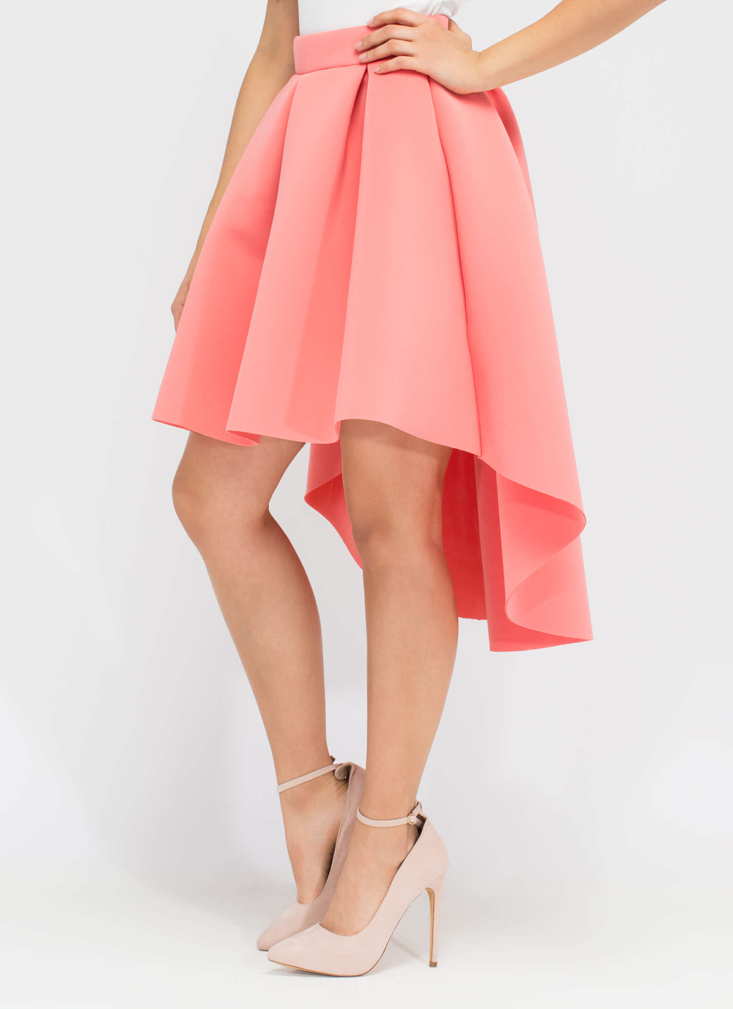 Full Circle High-Low Scuba Skirt PINK