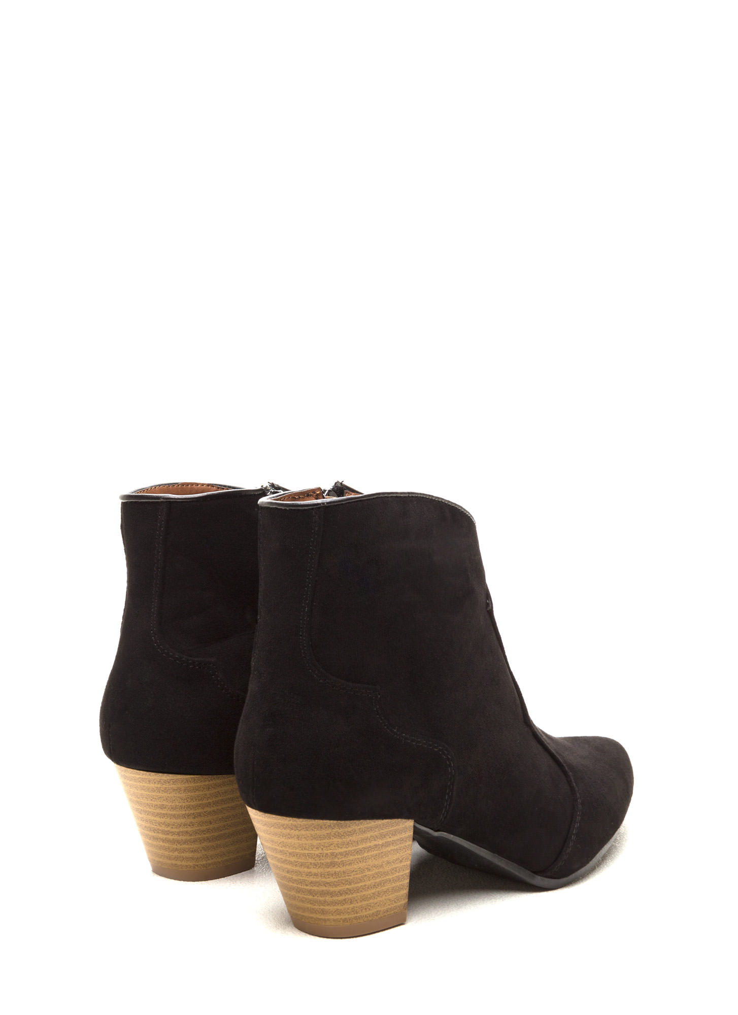 Yeehaw Pointy Faux Suede Booties BLACK