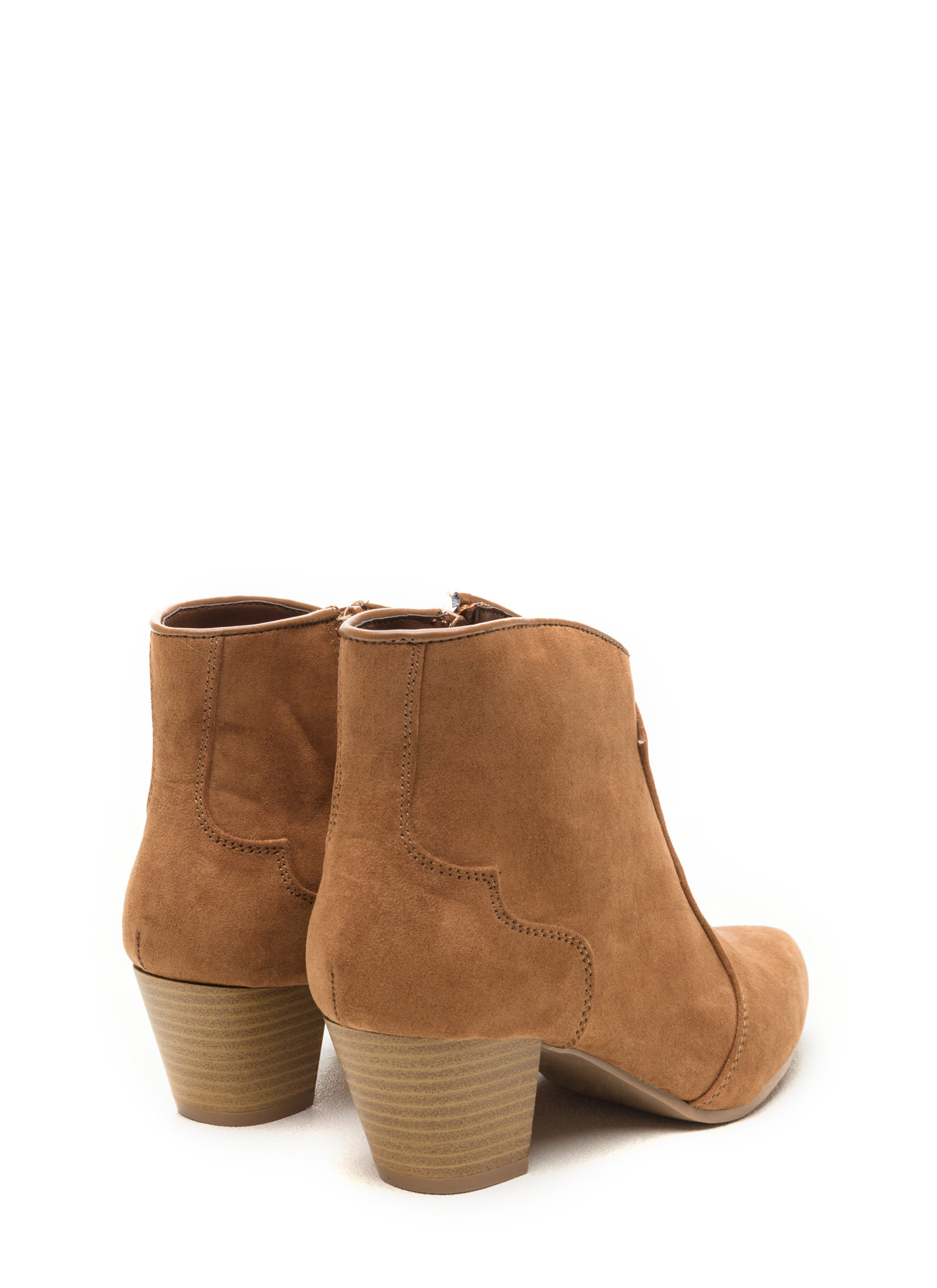 Yeehaw Pointy Faux Suede Booties CAMEL