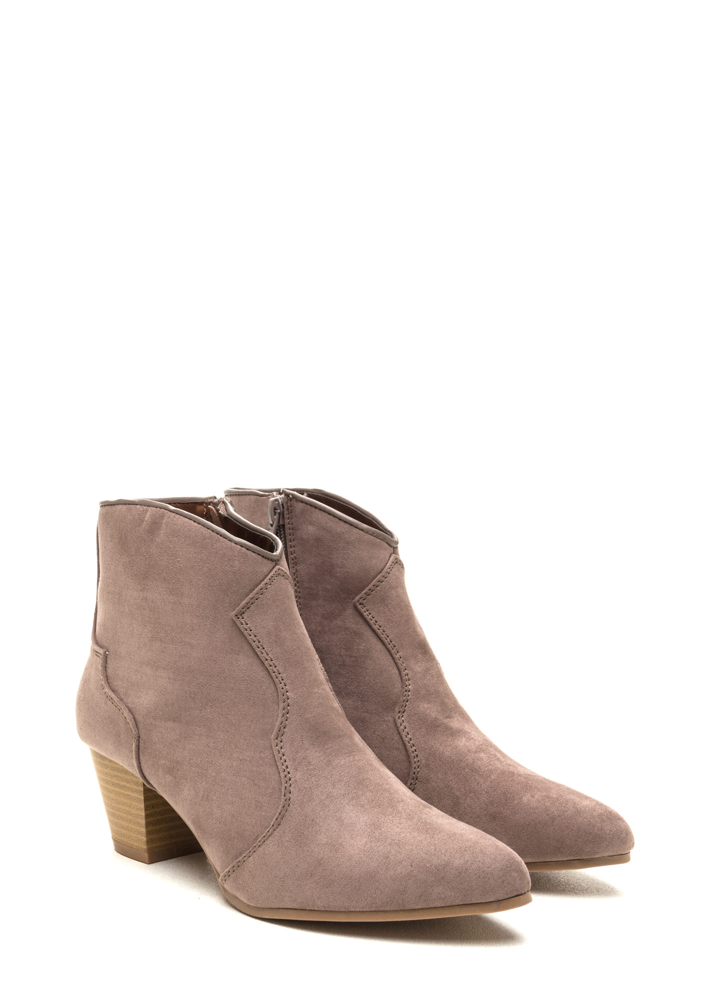 Yeehaw Pointy Faux Suede Booties TAUPE