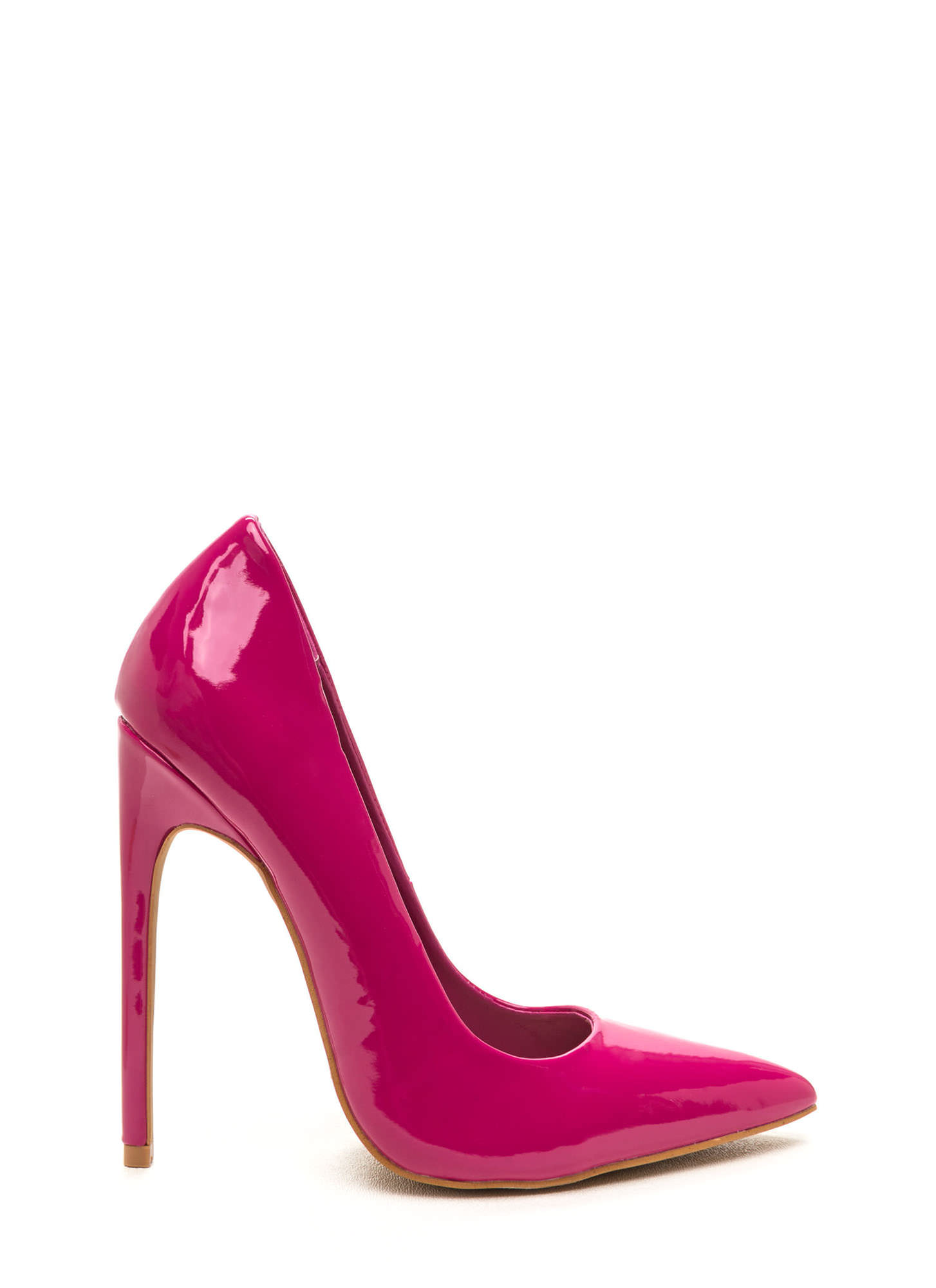 Totally Timeless Faux Patent Pumps FUCHSIA