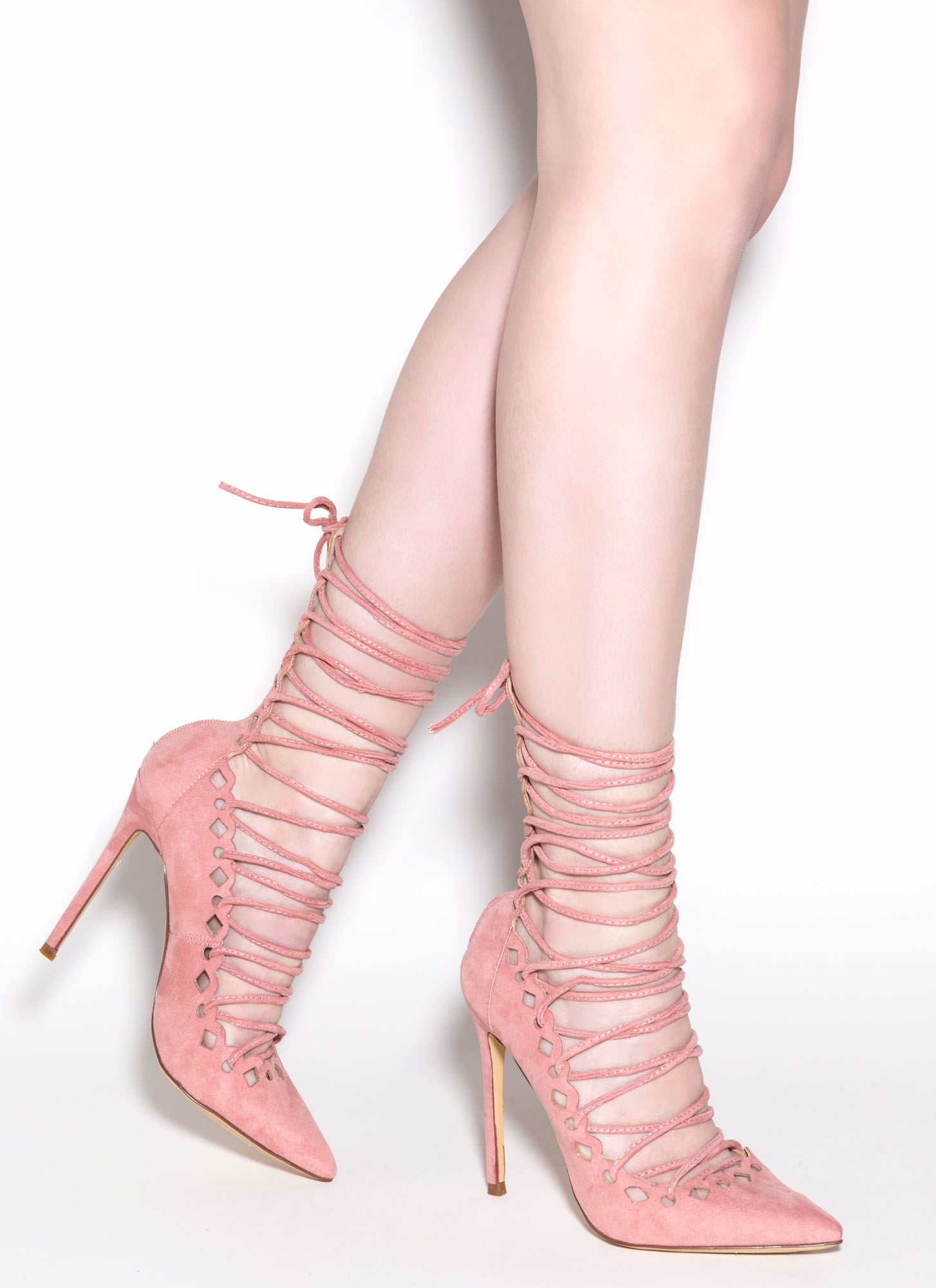 In Between Lace-Up Heels PINK