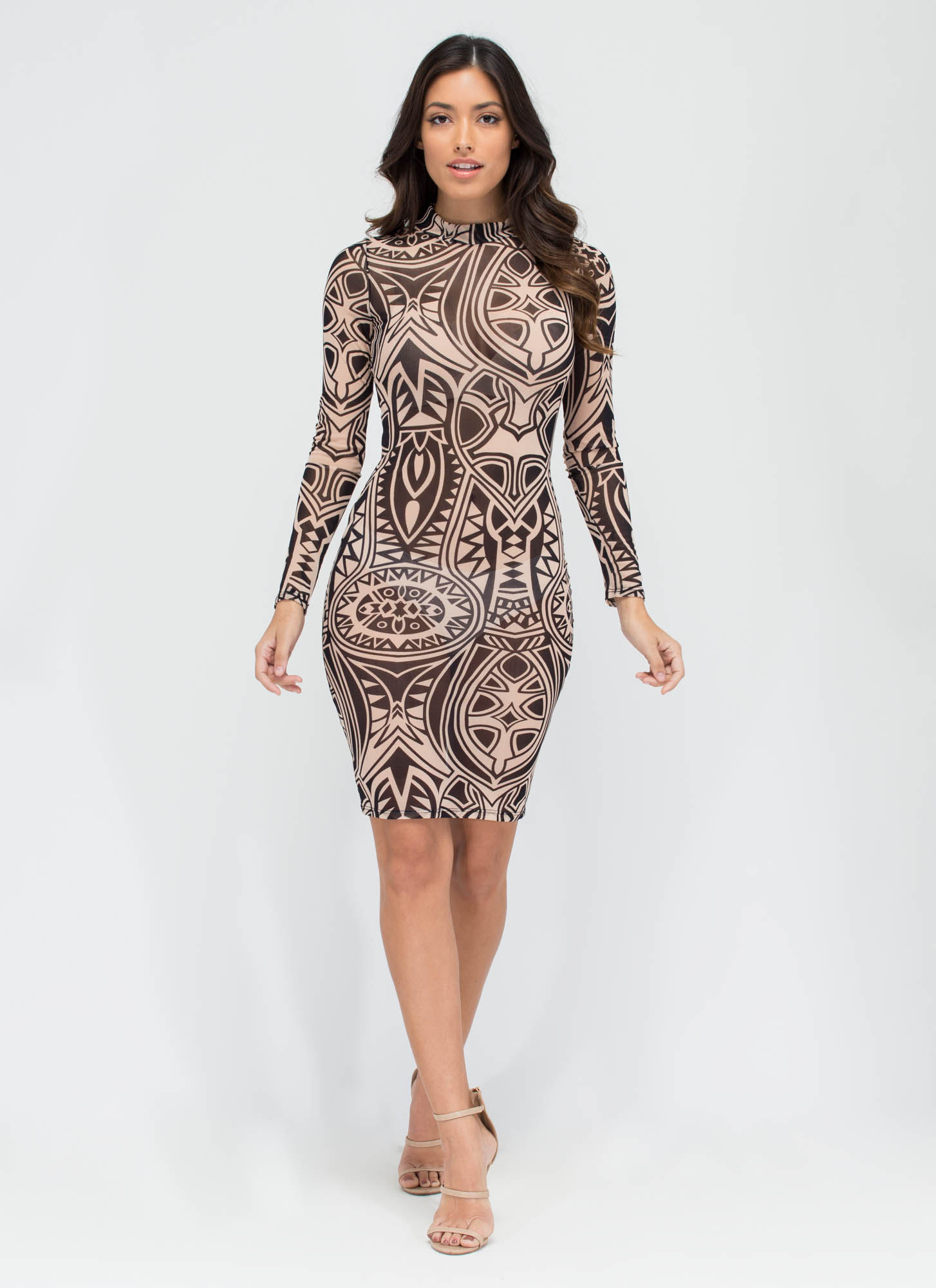 Tattoo Parlor Sheer Patterned Midi Dress