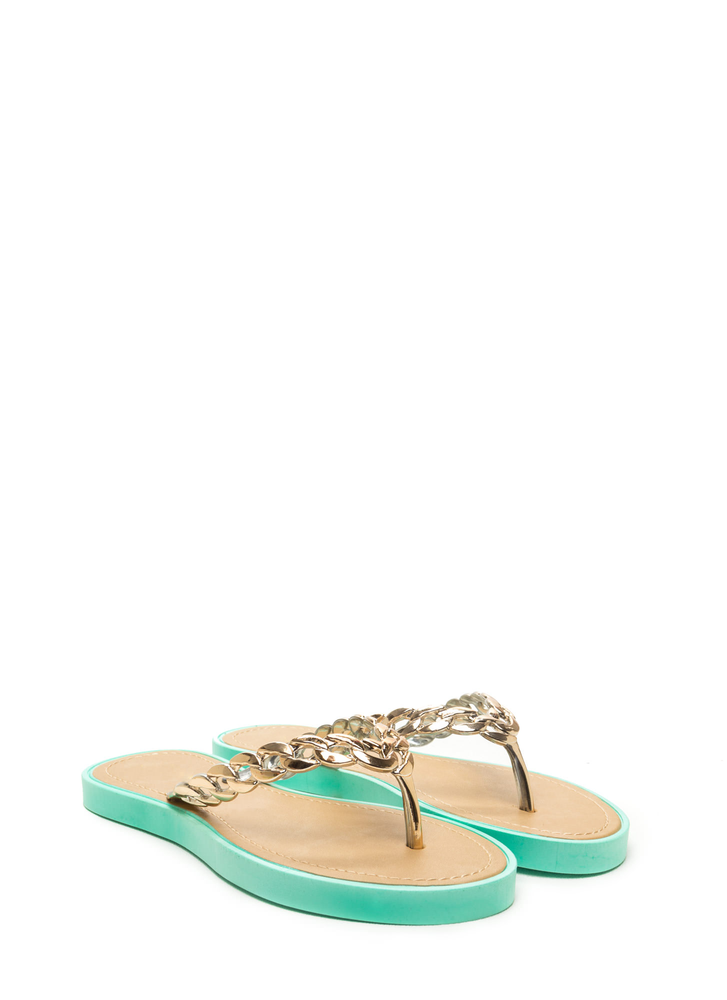 Chain Together Jelly Thong Sandals MINT