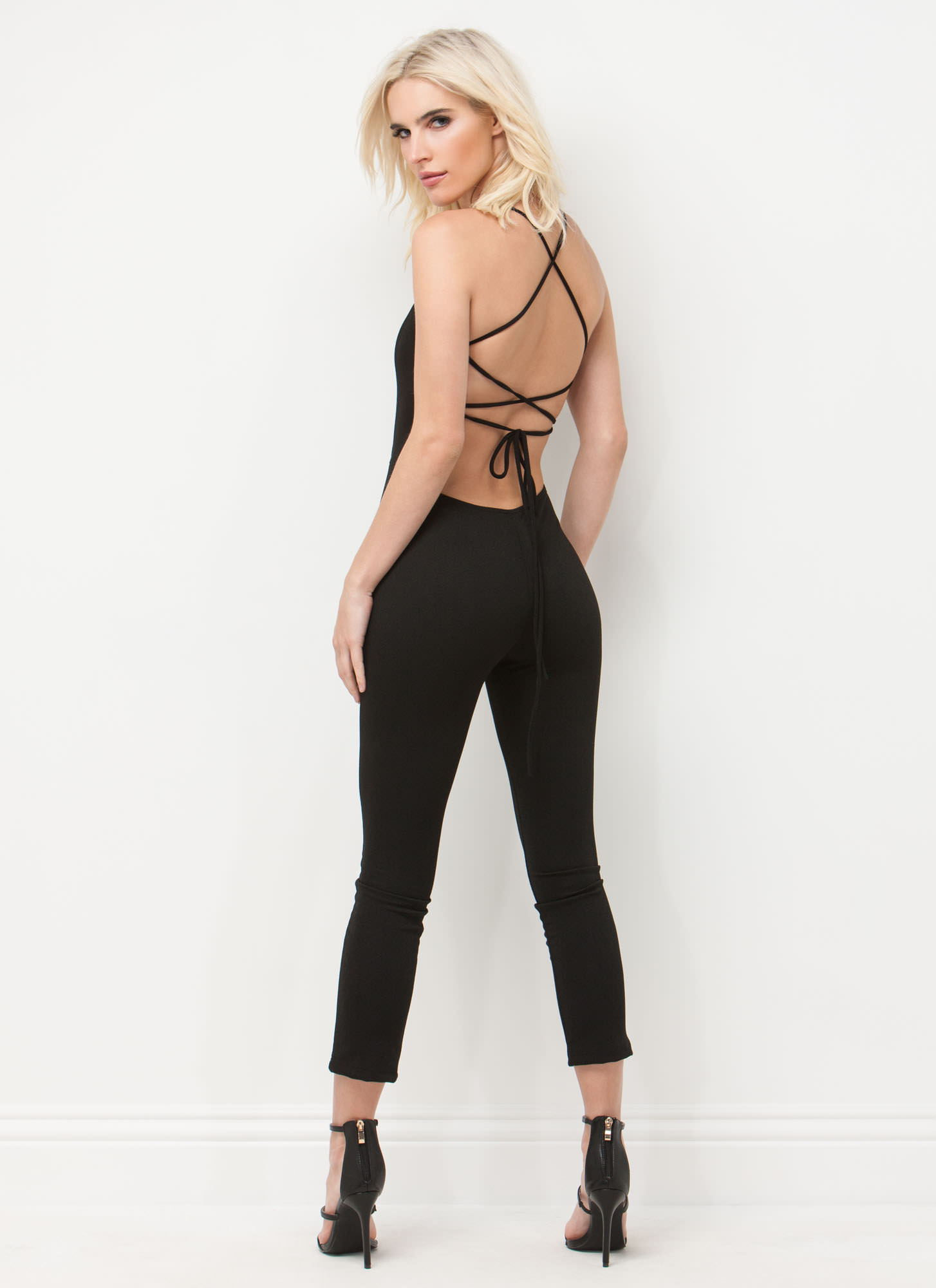 Turn The Tied Lace-Up Jumpsuit BLACK
