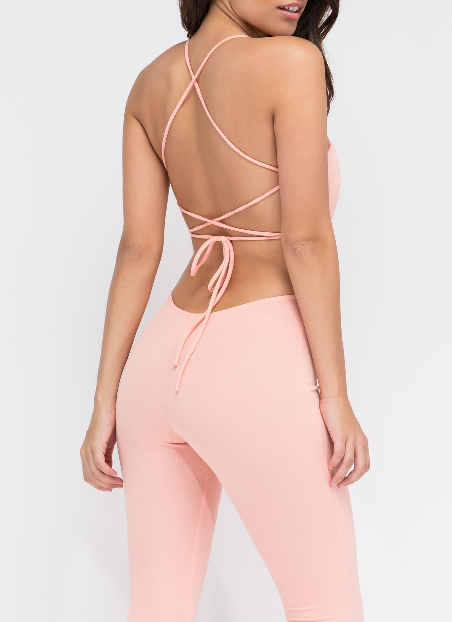 Turn The Tied Lace-Up Jumpsuit BLUSH
