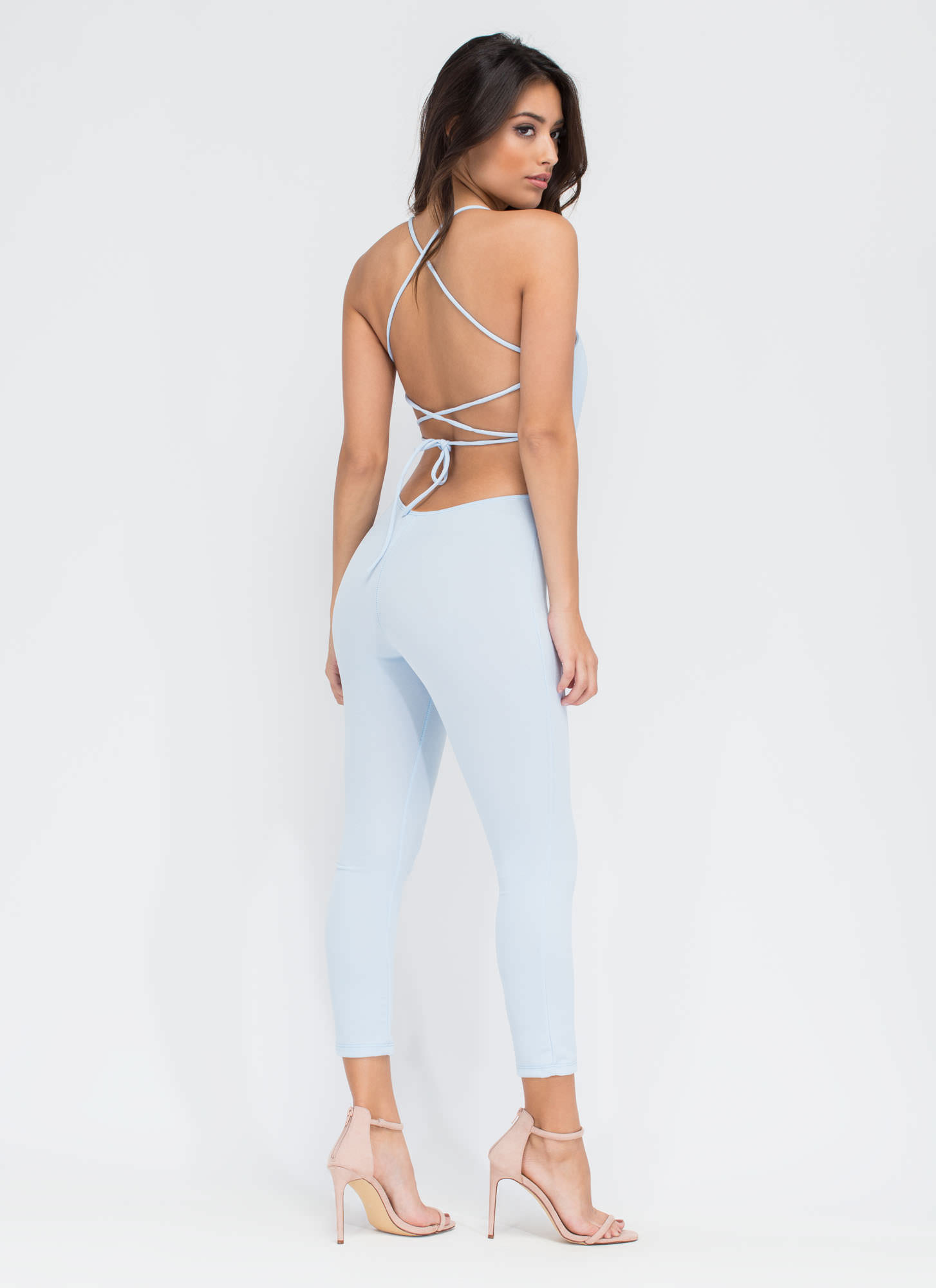 Turn The Tied Lace-Up Jumpsuit LTBLUE