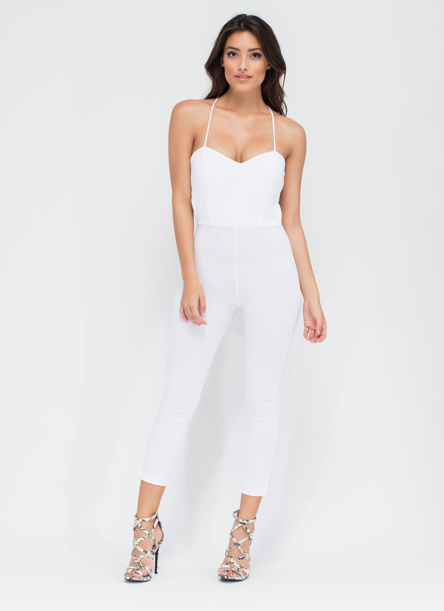 Turn The Tied Lace-Up Jumpsuit WHITE