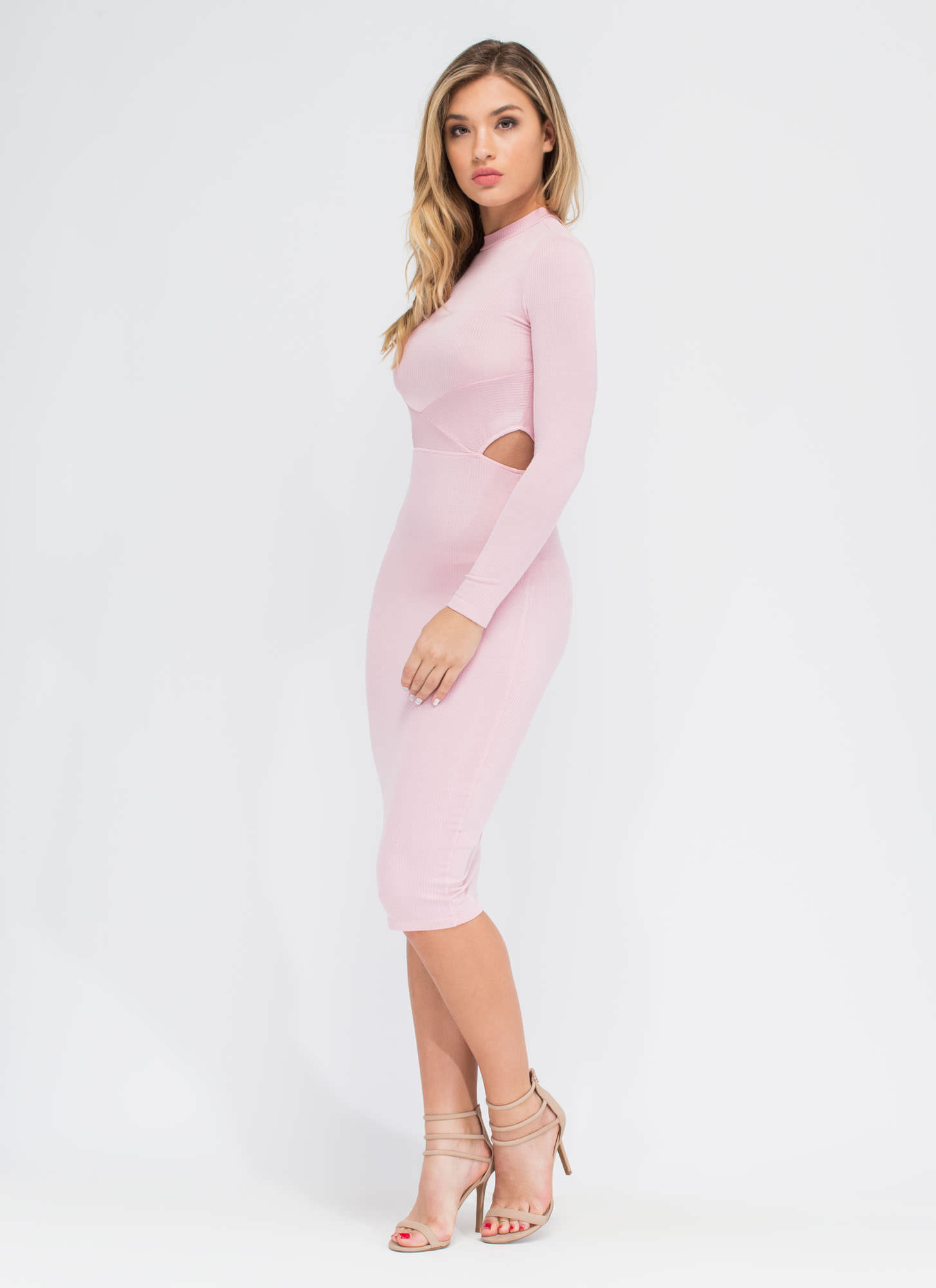 Falling Into Place Midi Dress BLUSH