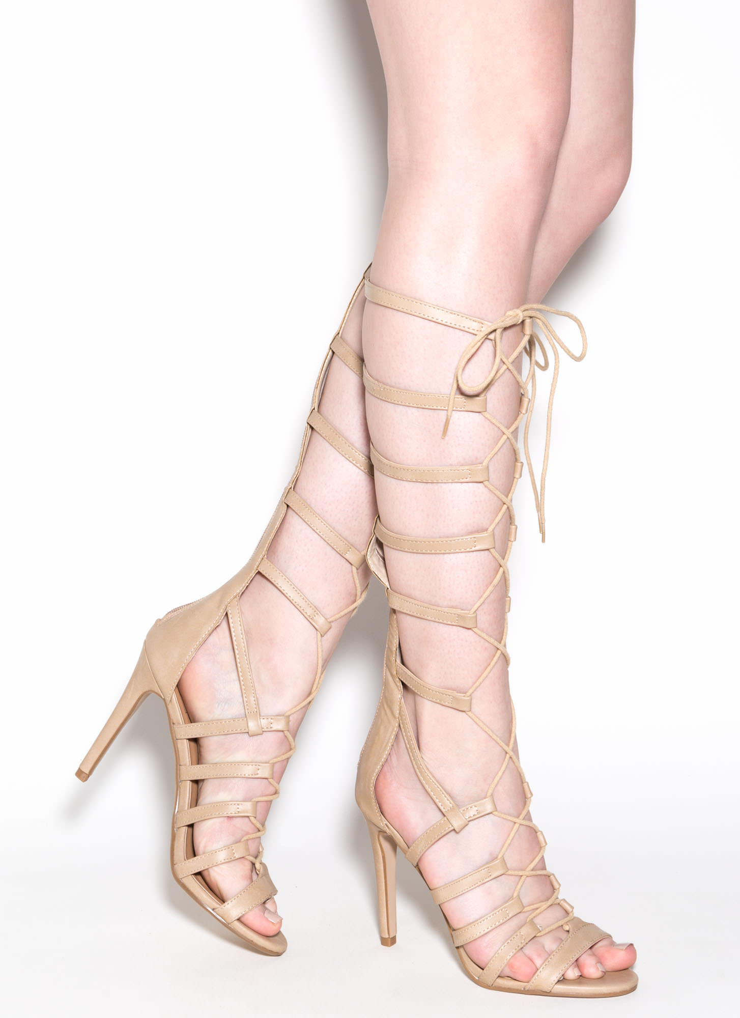 Take Notice Gladiator Heels DKBEIGE