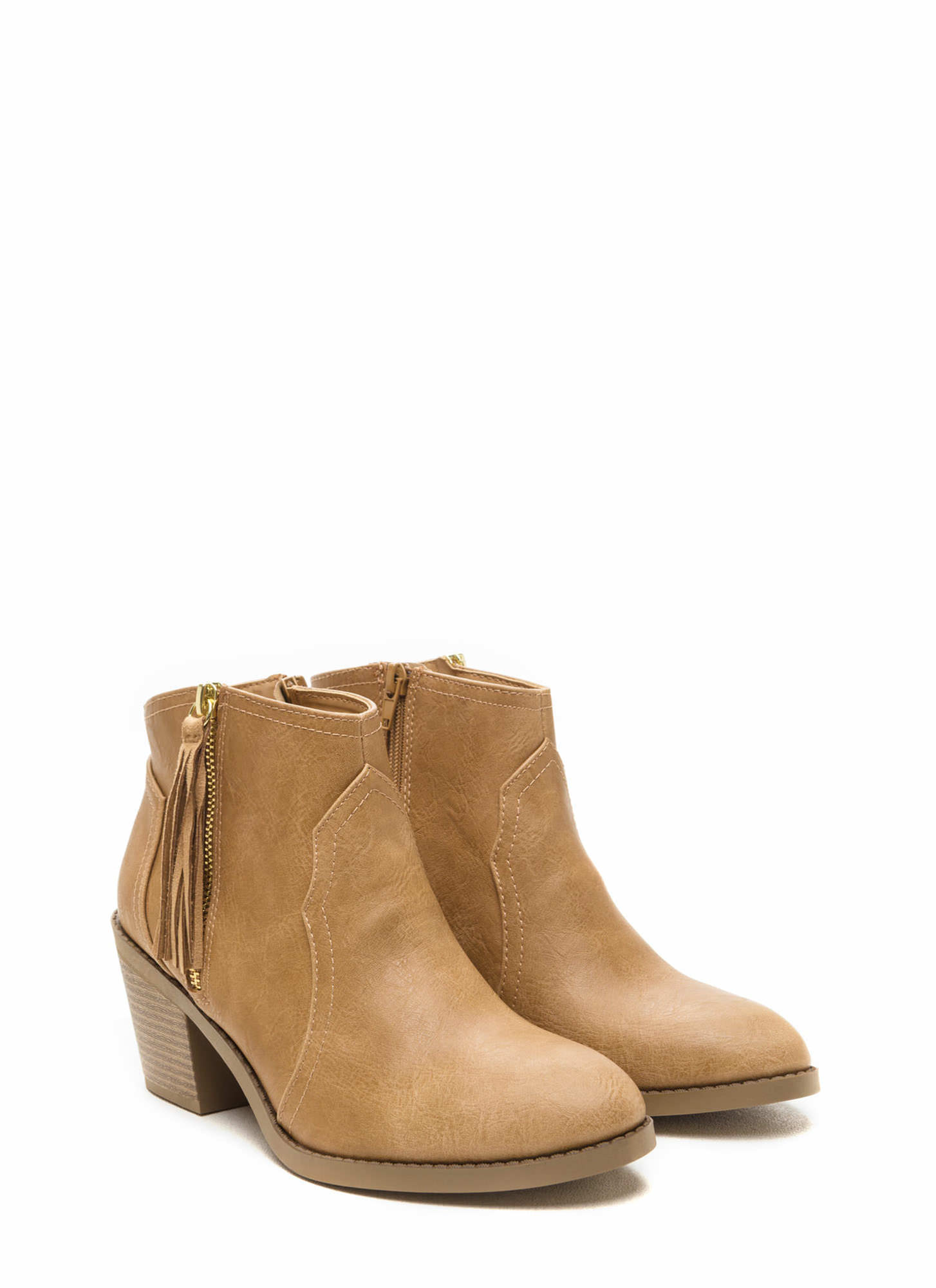 Cowgirl Chic Chunky Tasseled Booties BLONDE