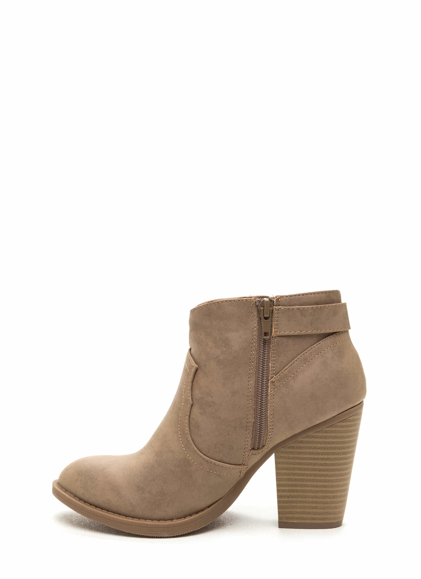 My Western Chunky Faux Nubuck Booties TAUPE