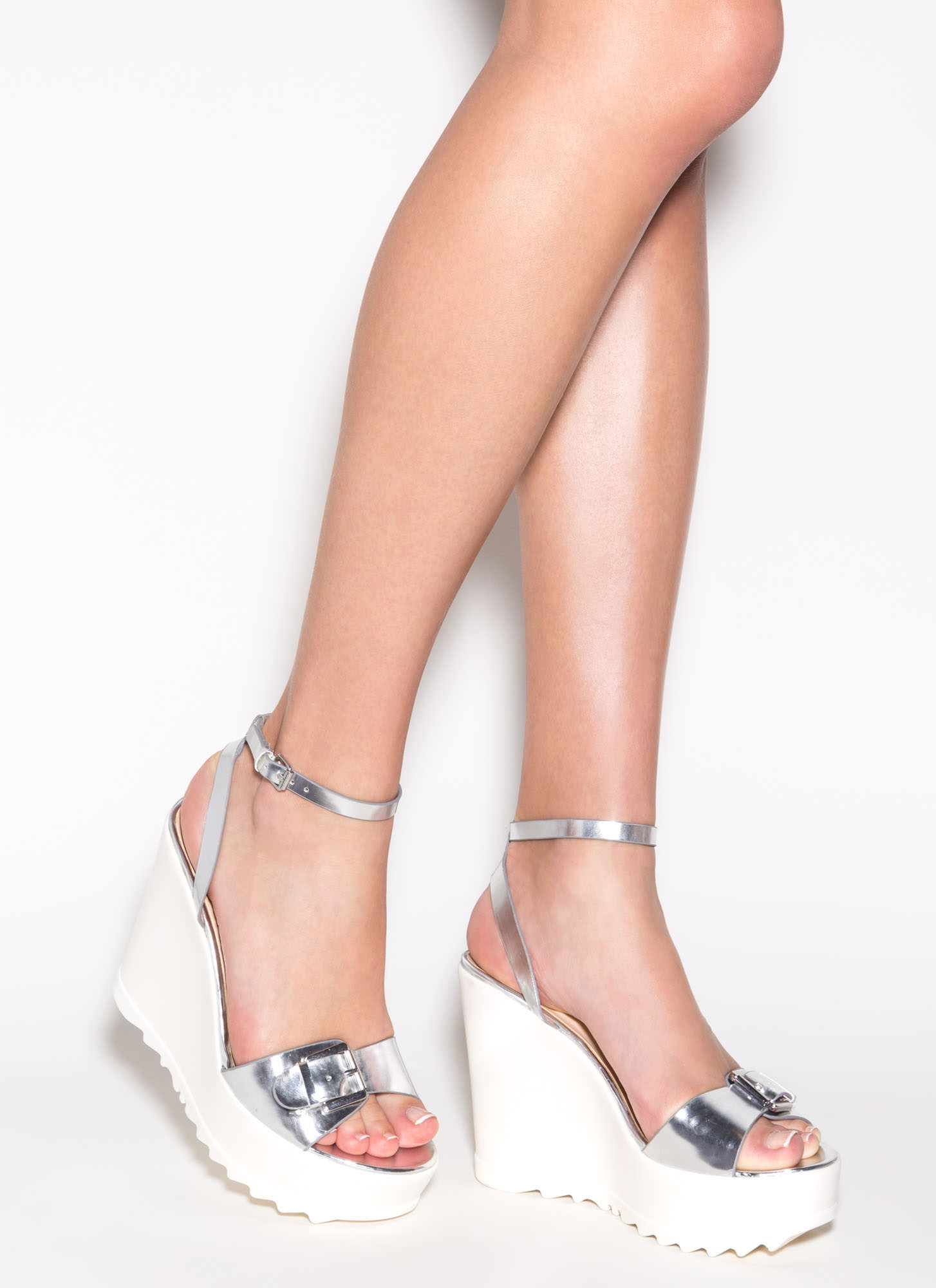 Style Goddess Metallic Buckled Wedges SILVER