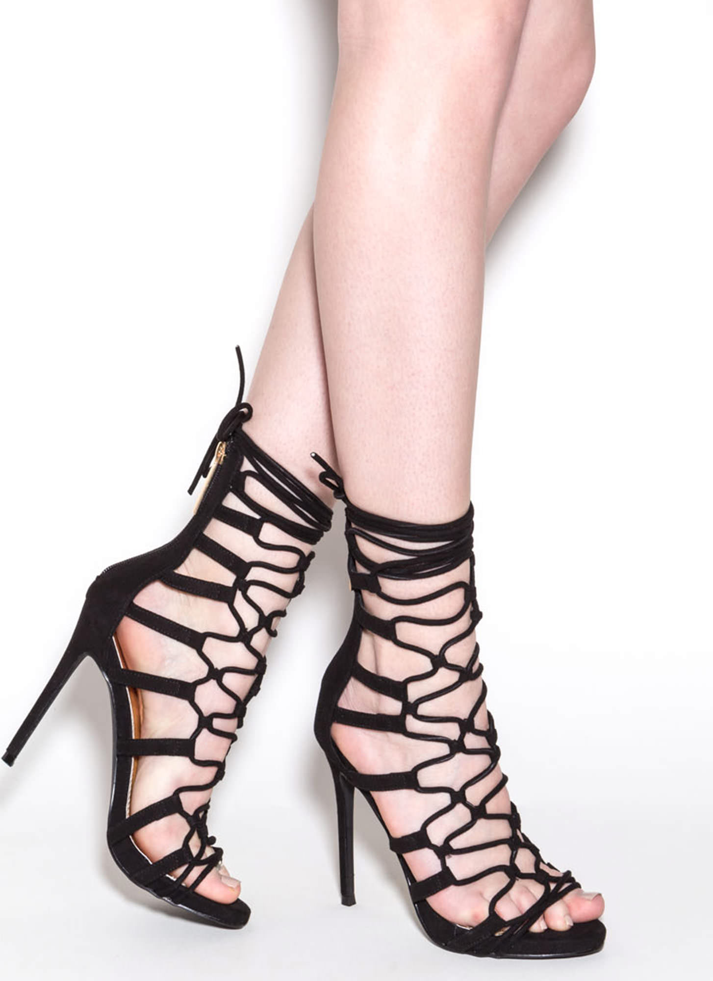 Laced And Loaded Faux Suede Heels BLACK