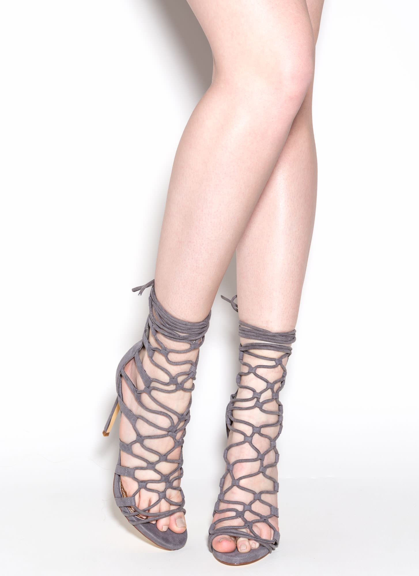 Laced And Loaded Faux Suede Heels GREY