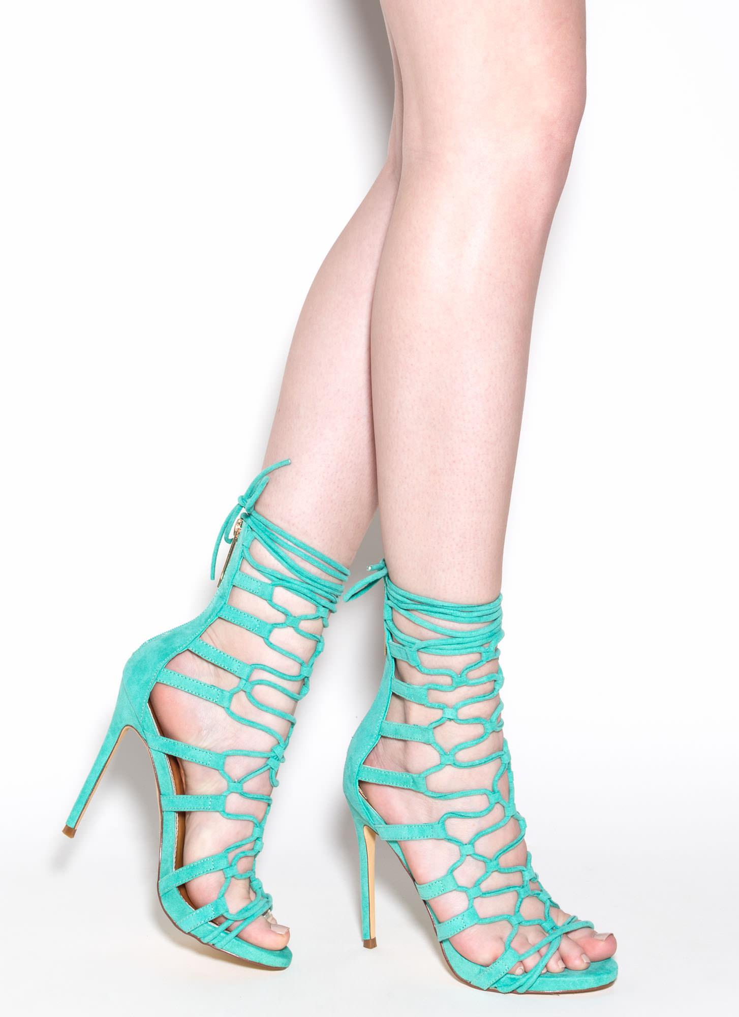 Laced And Loaded Faux Suede Heels SEAGREEN