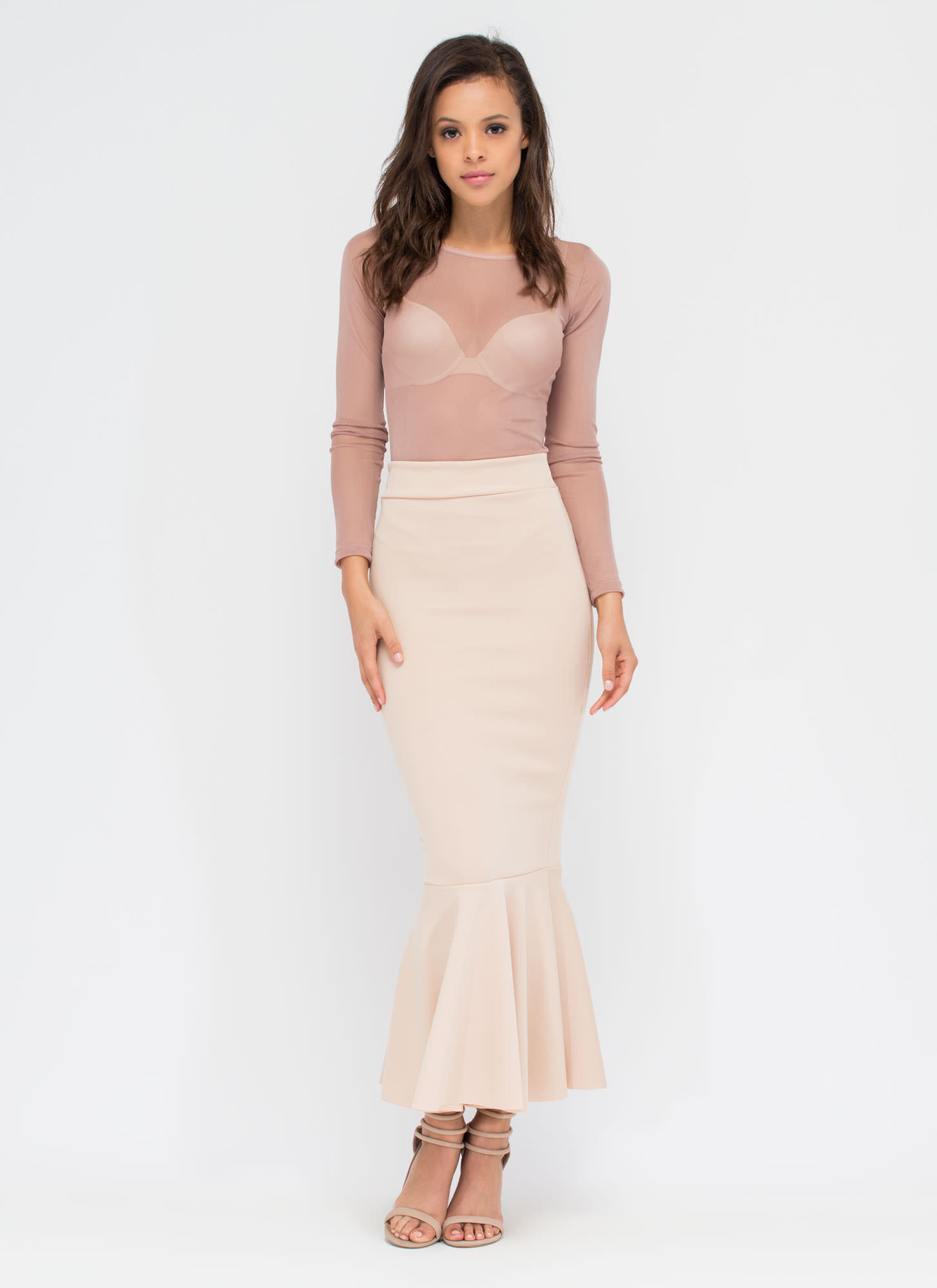 This Trumpets All Mermaid Maxi Skirt NUDE