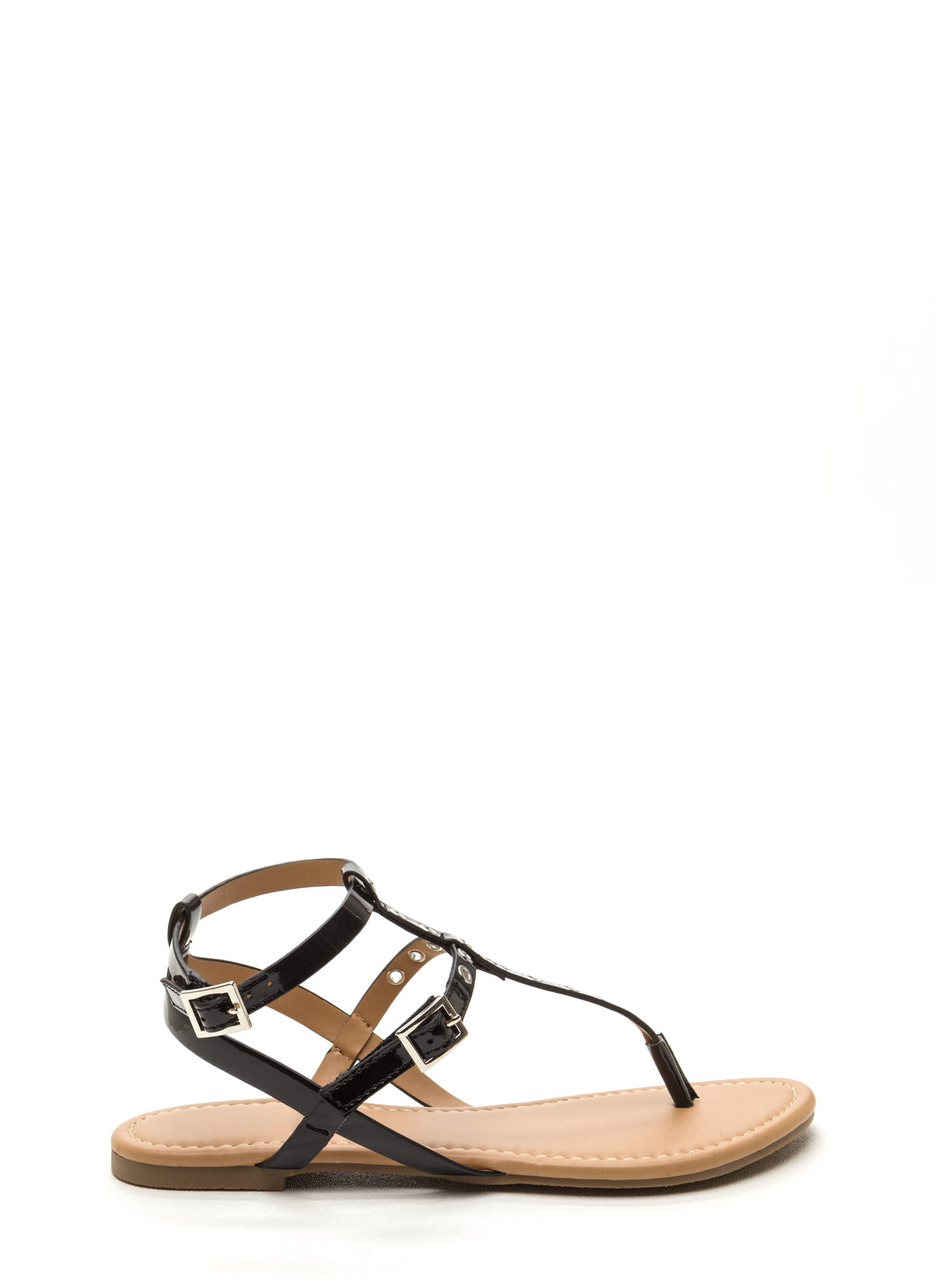 Punch-Drunk Love Faux Patent Sandals BLACK