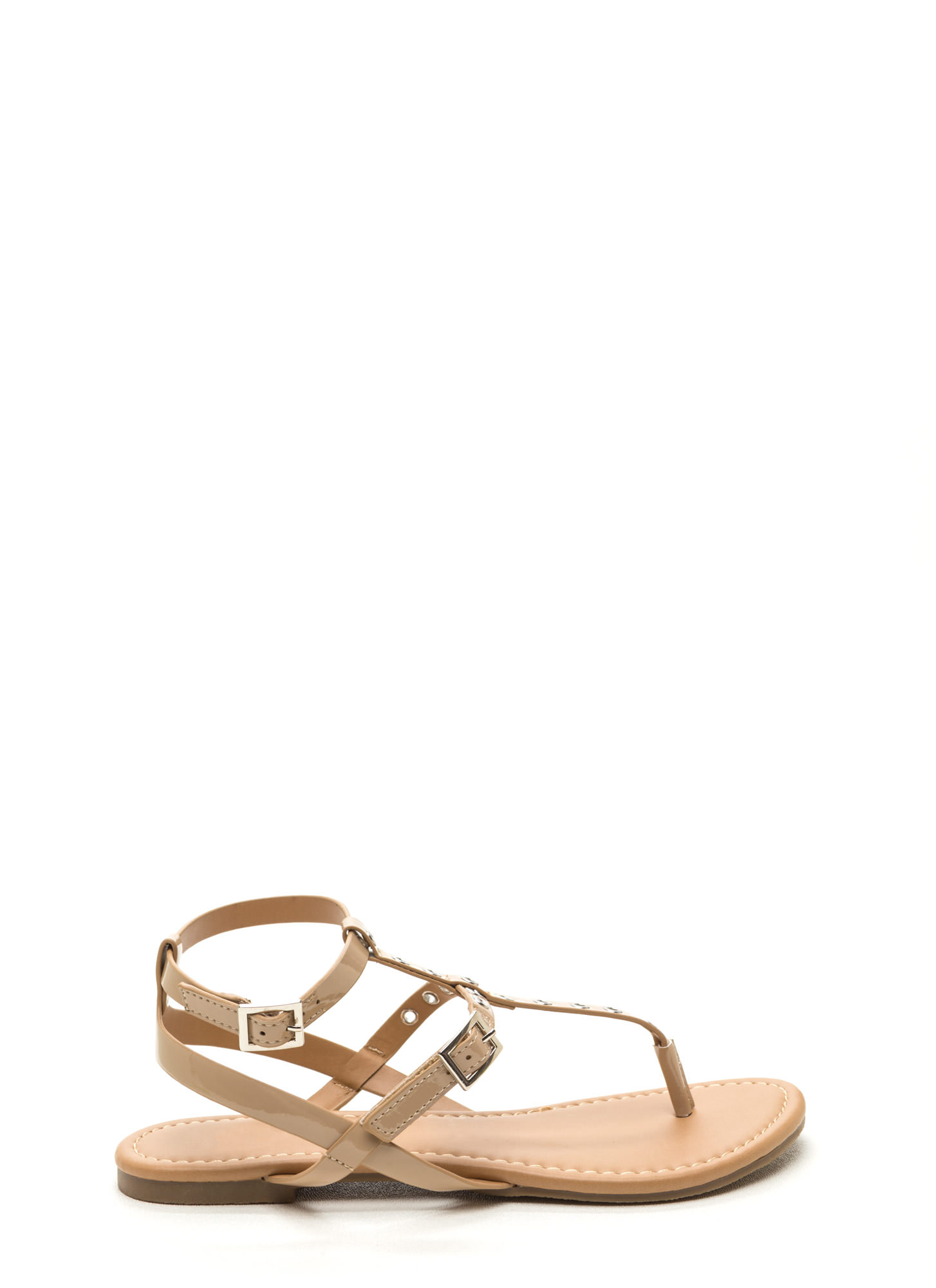 Punch-Drunk Love Faux Patent Sandals DKBEIGE