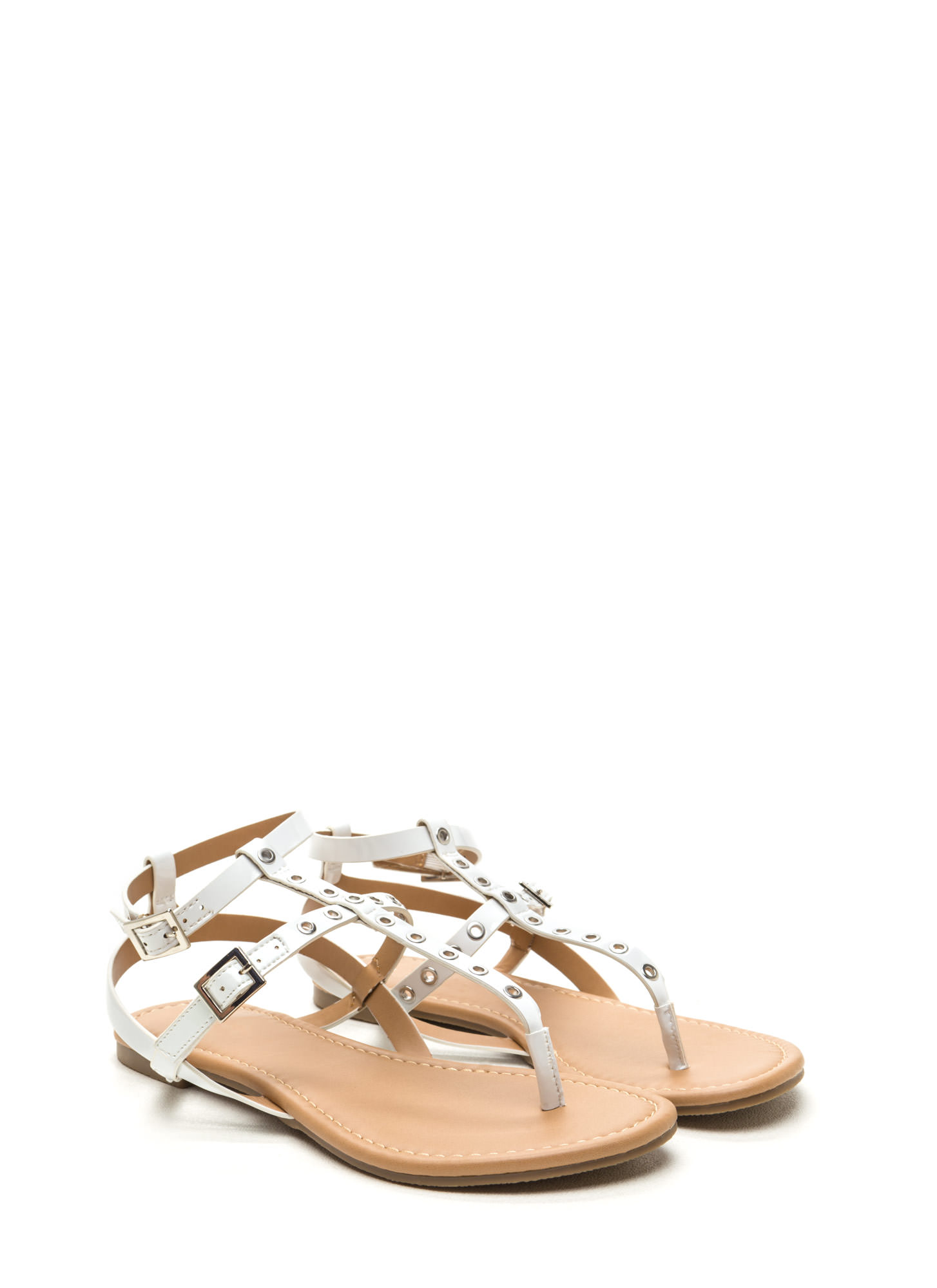 Punch-Drunk Love Faux Patent Sandals WHITE
