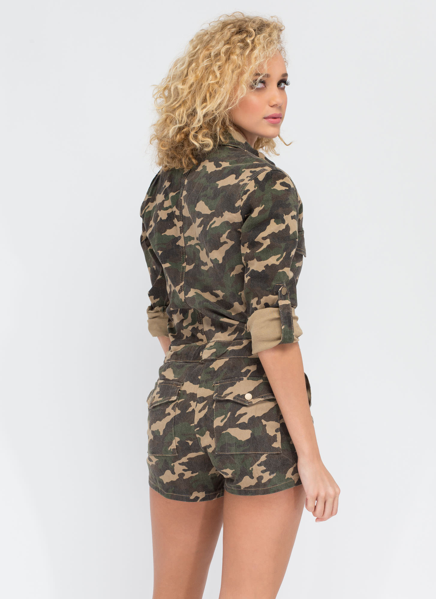 At Attention Camo Utility Romper CAMOUFLAGE