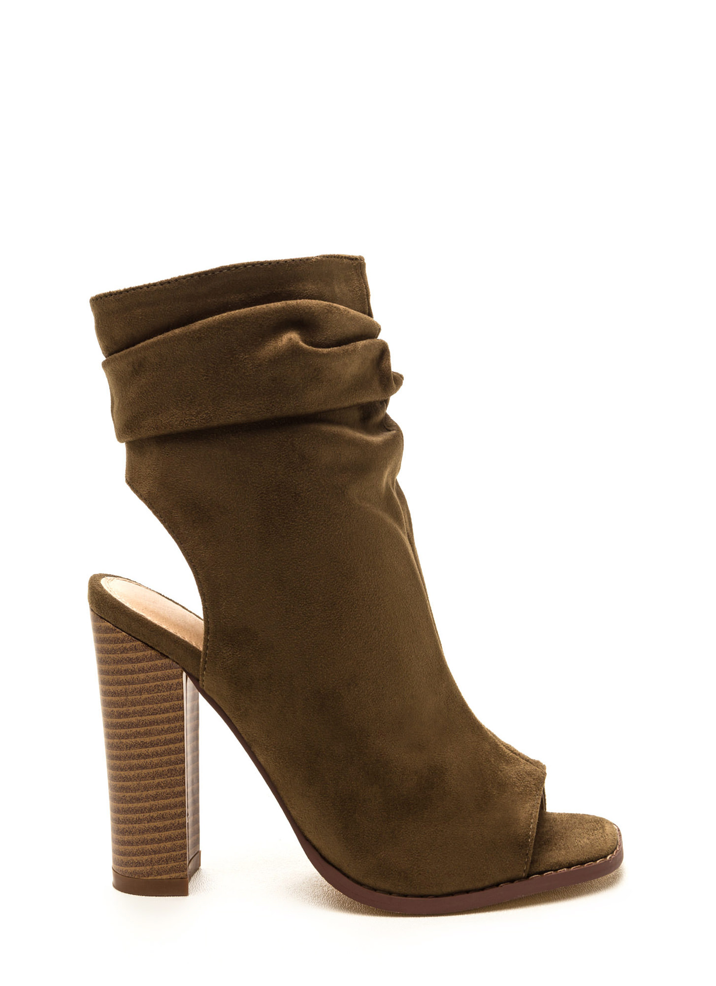 Heel Me Slouchy Cut-Out Booties OLIVE