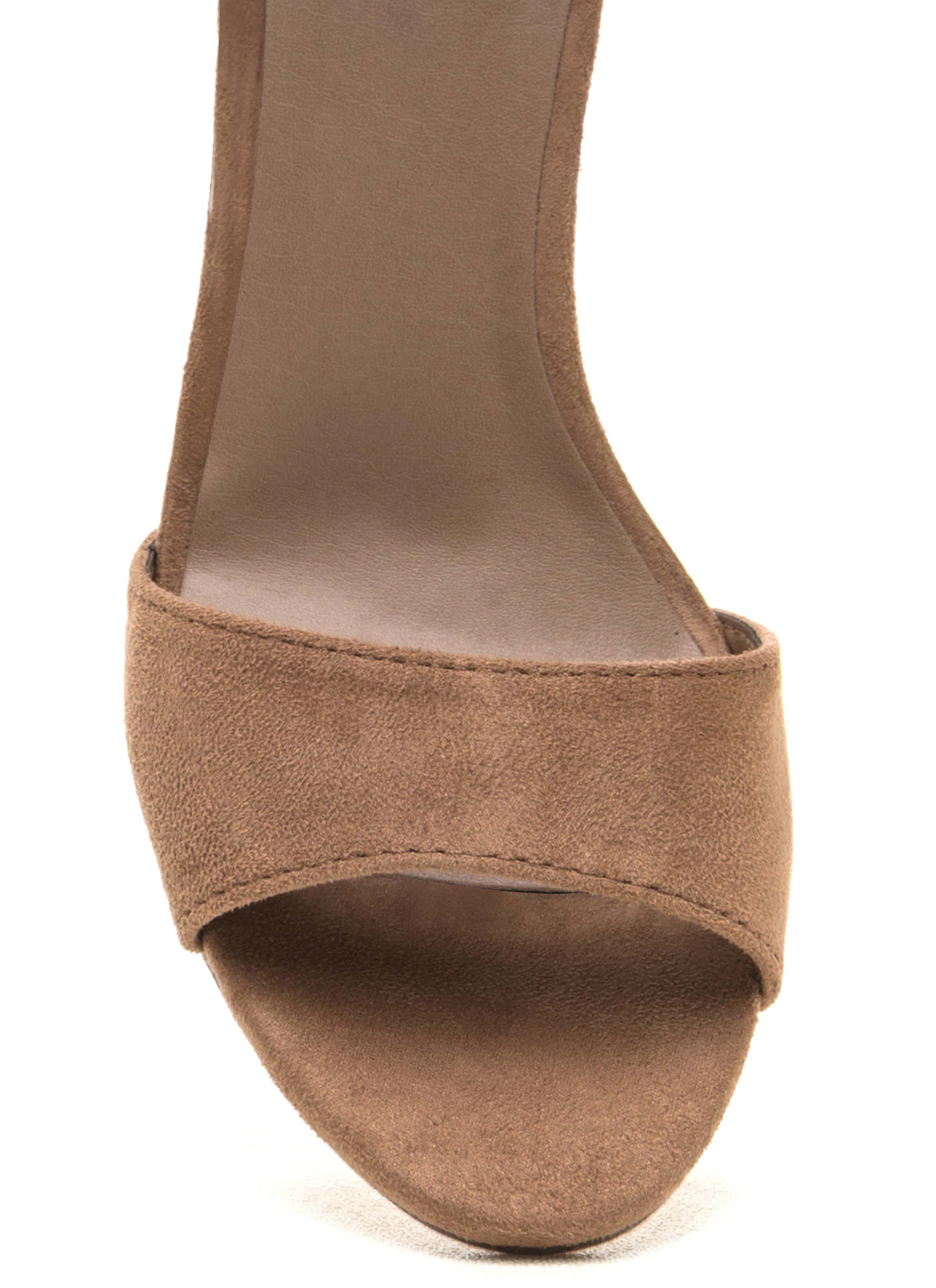 Two To Tassel Chunky Faux Suede Heels NATURAL