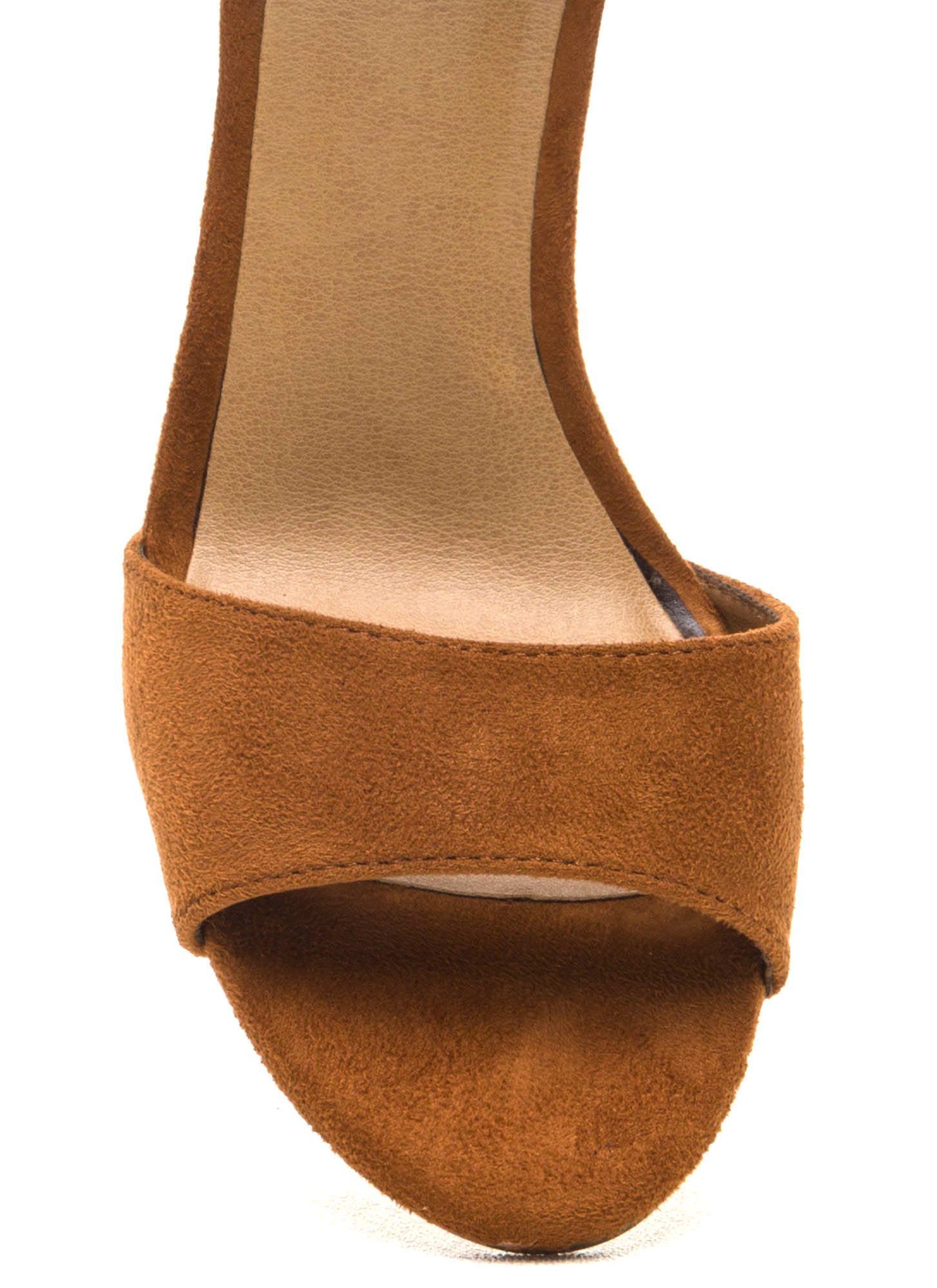 Two To Tassel Chunky Faux Suede Heels TAN