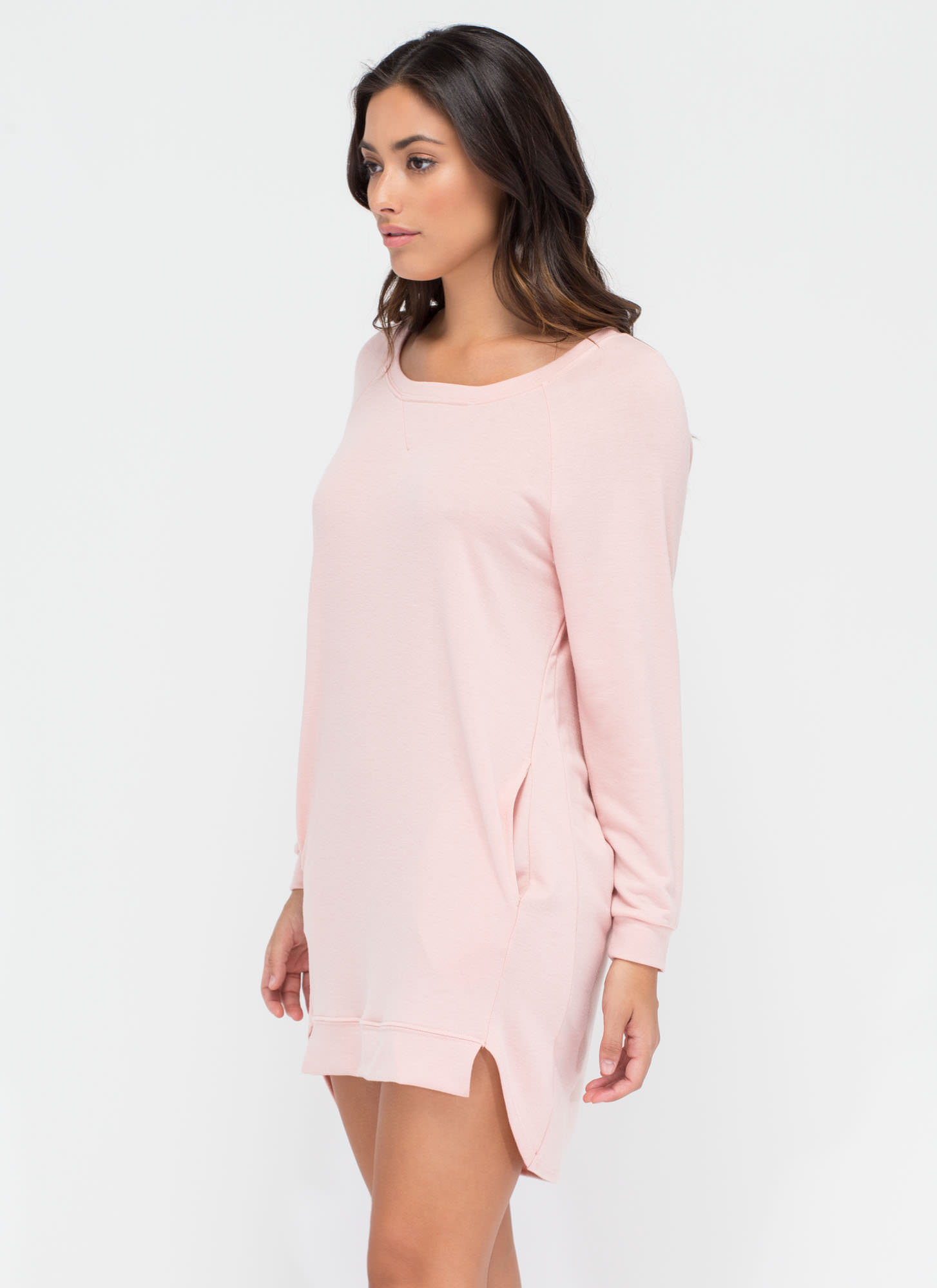 Lazy Sundays Cut-Out Sweatshirt Dress BLUSH