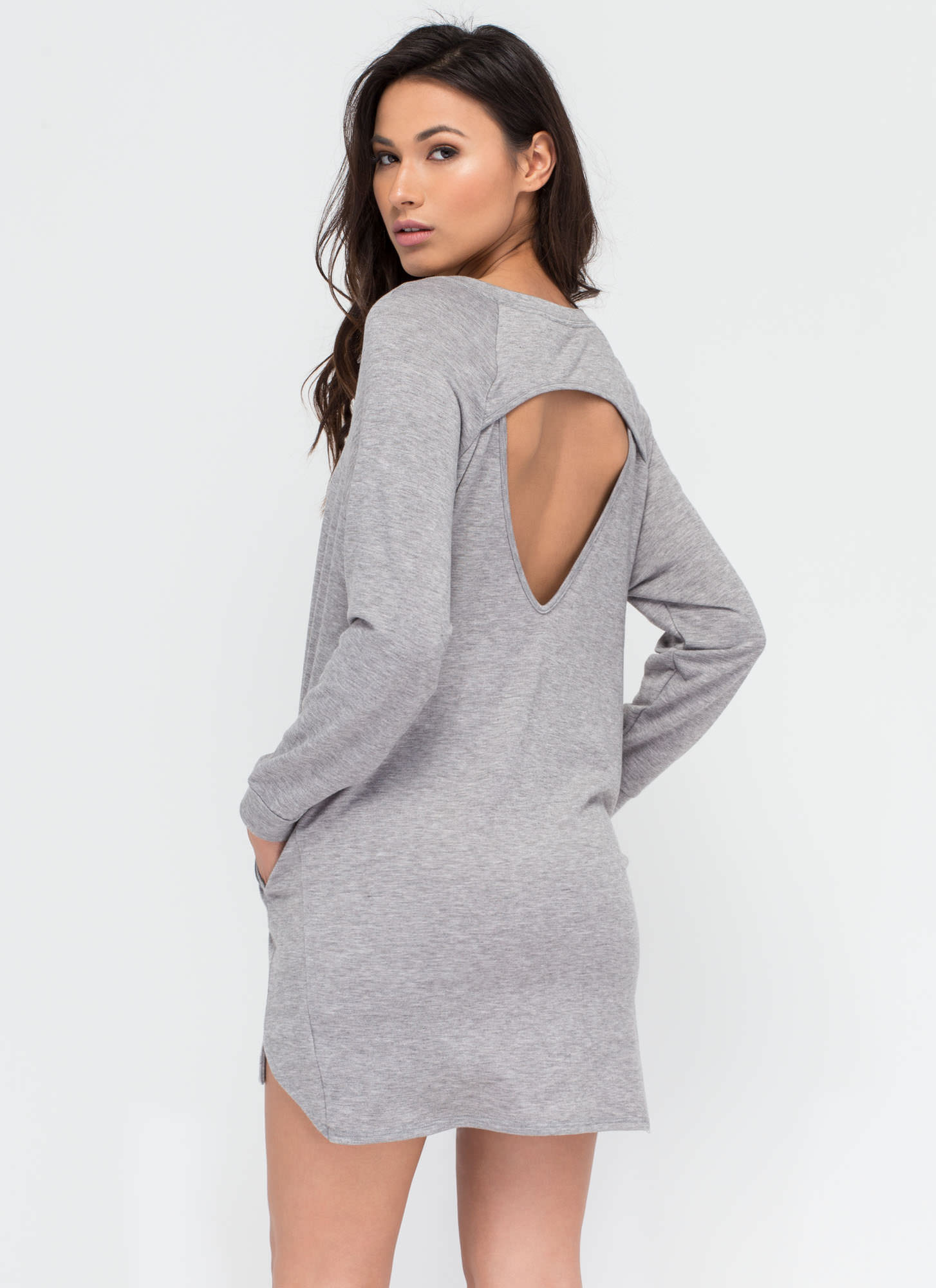 Lazy Sundays Cut-Out Sweatshirt Dress HGREY