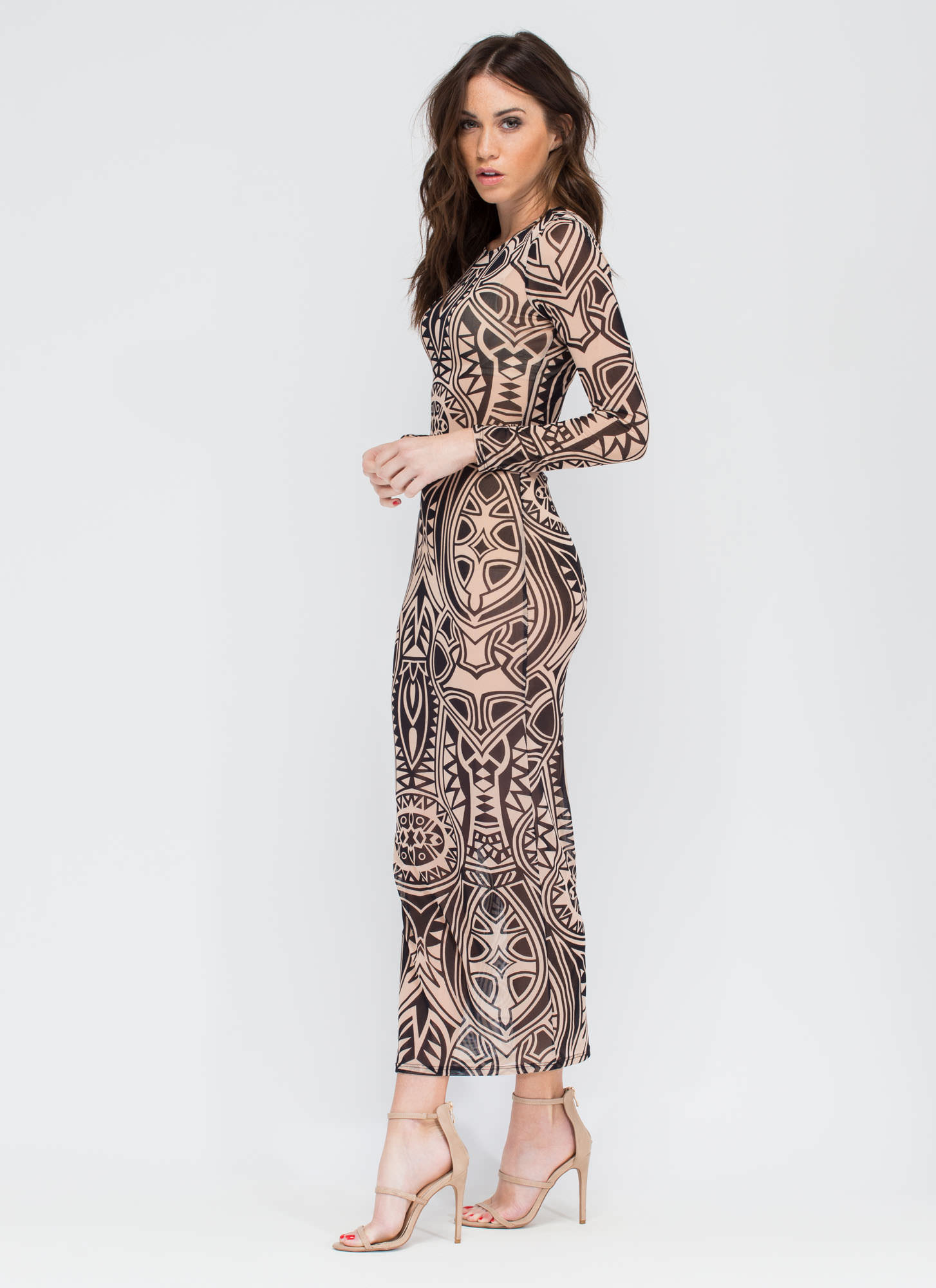 Rock Your Body Sheer Maxi Dress TAUPE