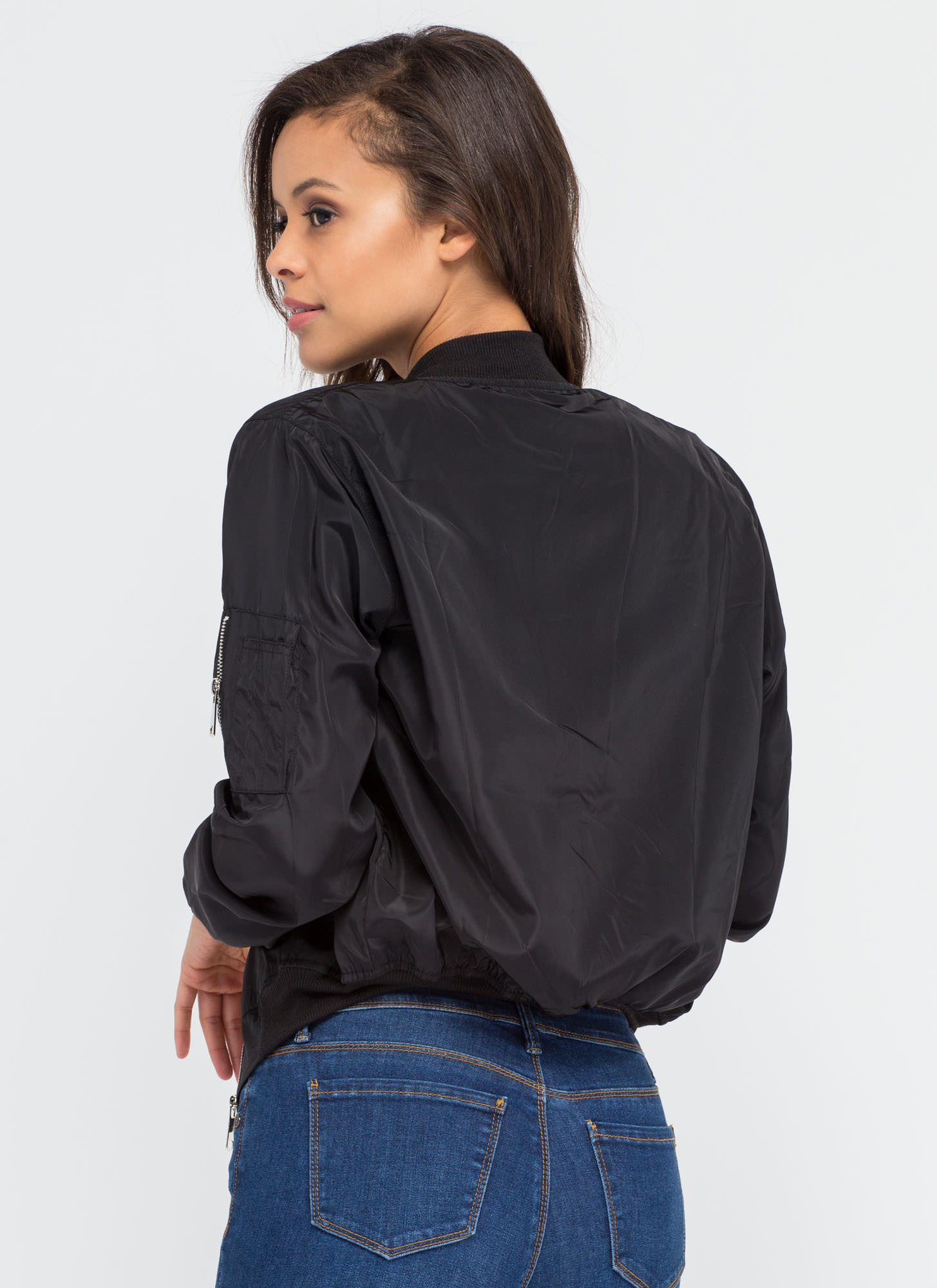 Top It Off Bomber Windbreaker Jacket BLACK