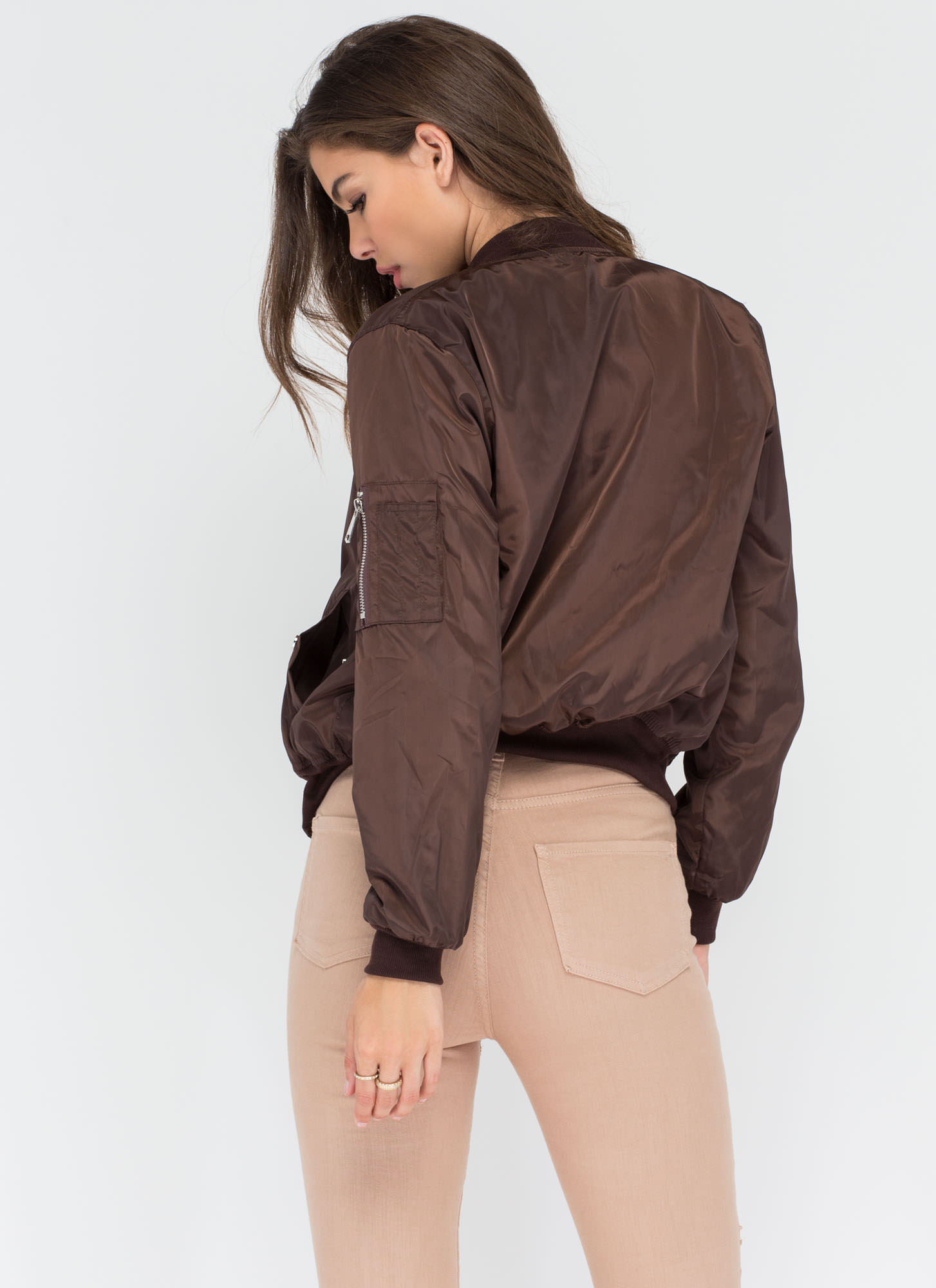 Top It Off Bomber Windbreaker Jacket BROWN