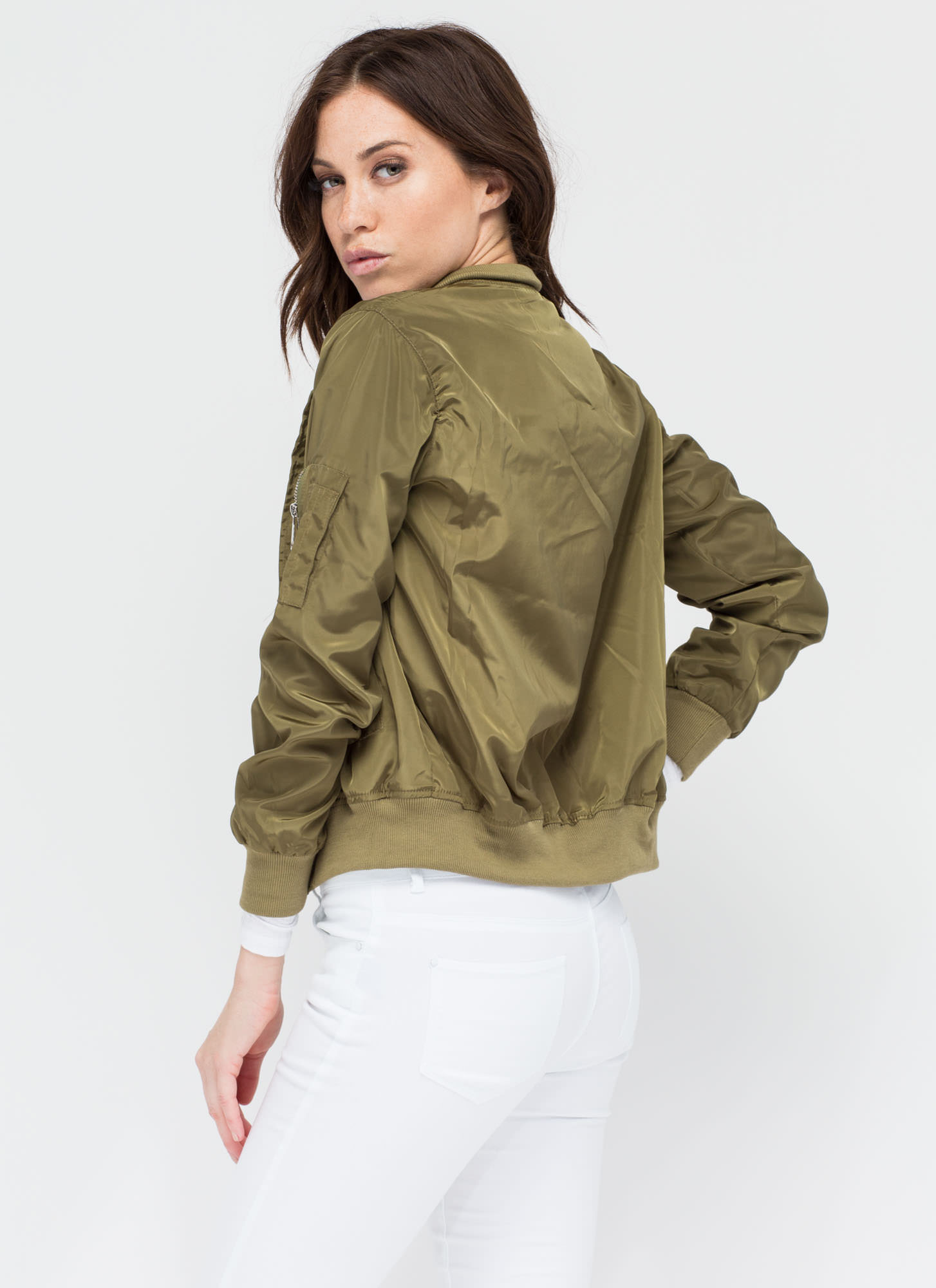 Top It Off Bomber Windbreaker Jacket OLIVE