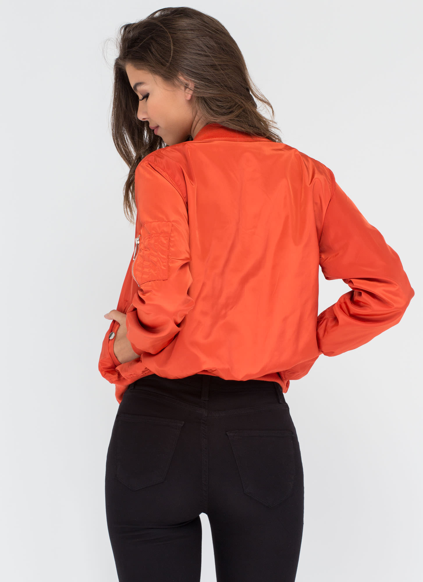 Top It Off Bomber Windbreaker Jacket ORANGE