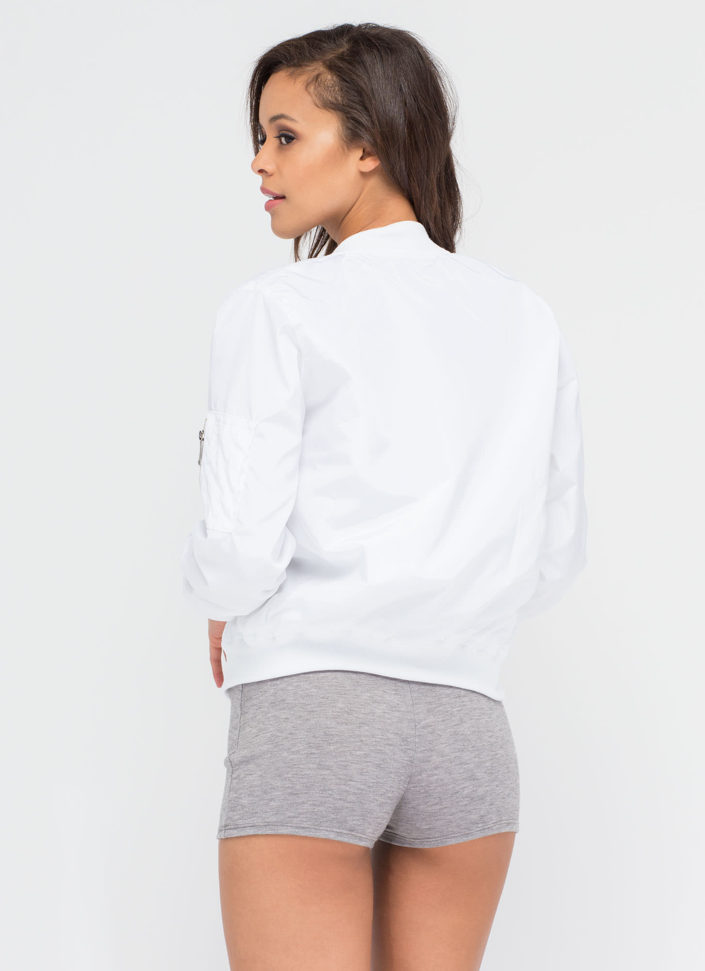 Top It Off Bomber Windbreaker Jacket WHITE