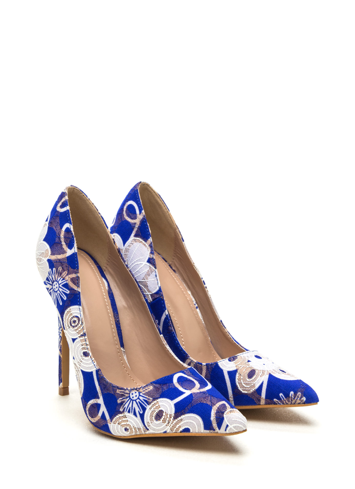 Punch Line Embroidered Pointy Heels BLUE