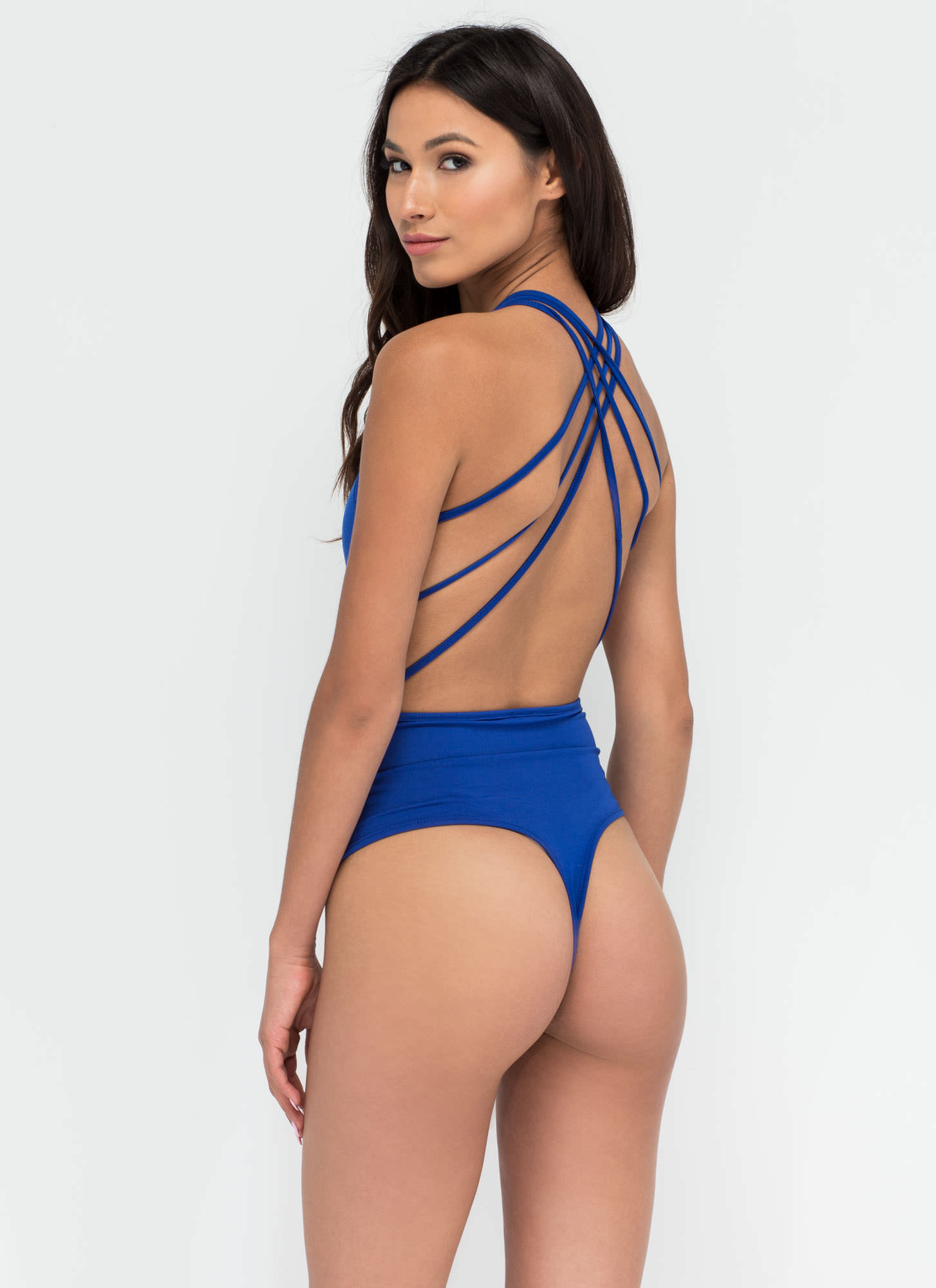 Strappy Together Thong Bodysuit ROYAL