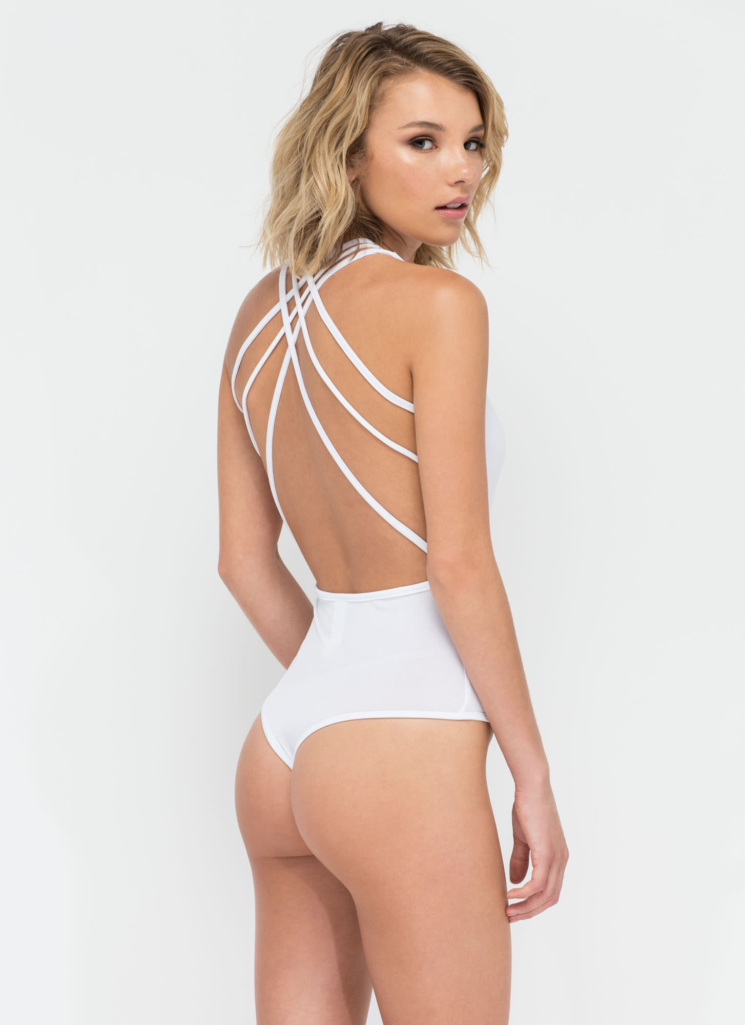 Strappy Together Thong Bodysuit WHITE