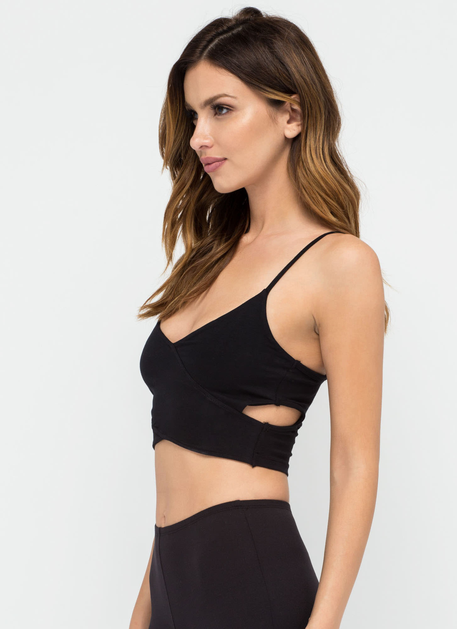 Totally Busted Cut-Out Crop Top BLACK