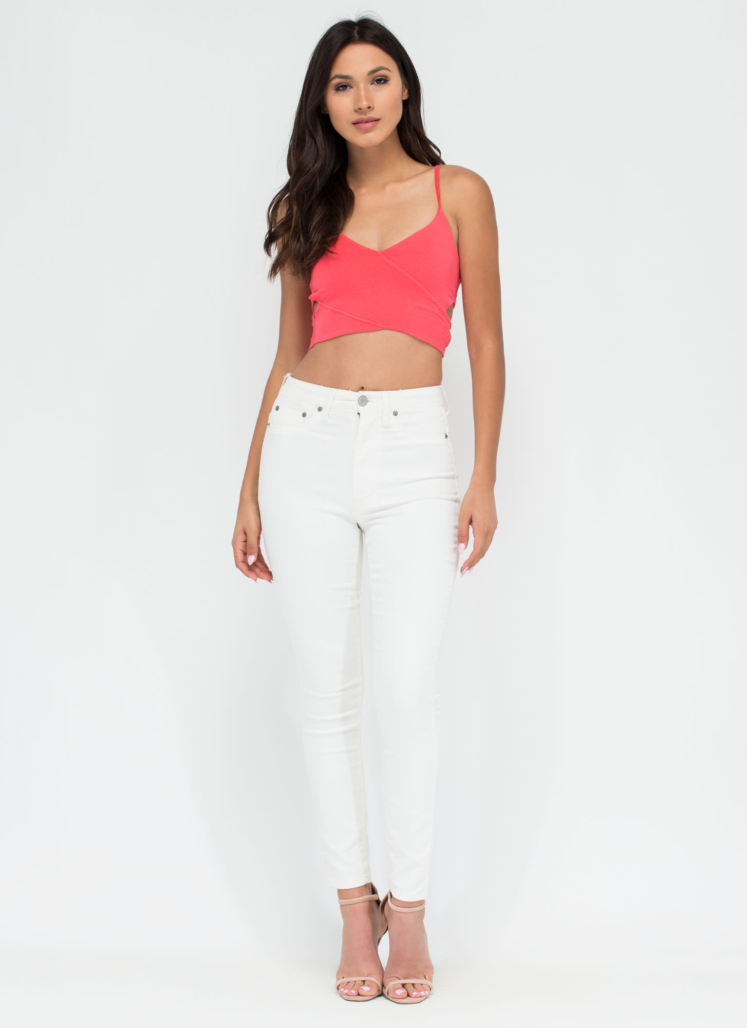 Totally Busted Cut-Out Crop Top CORAL