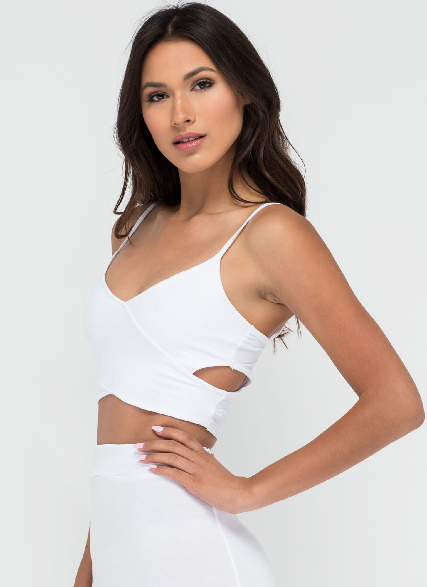 Totally Busted Cut-Out Crop Top WHITE