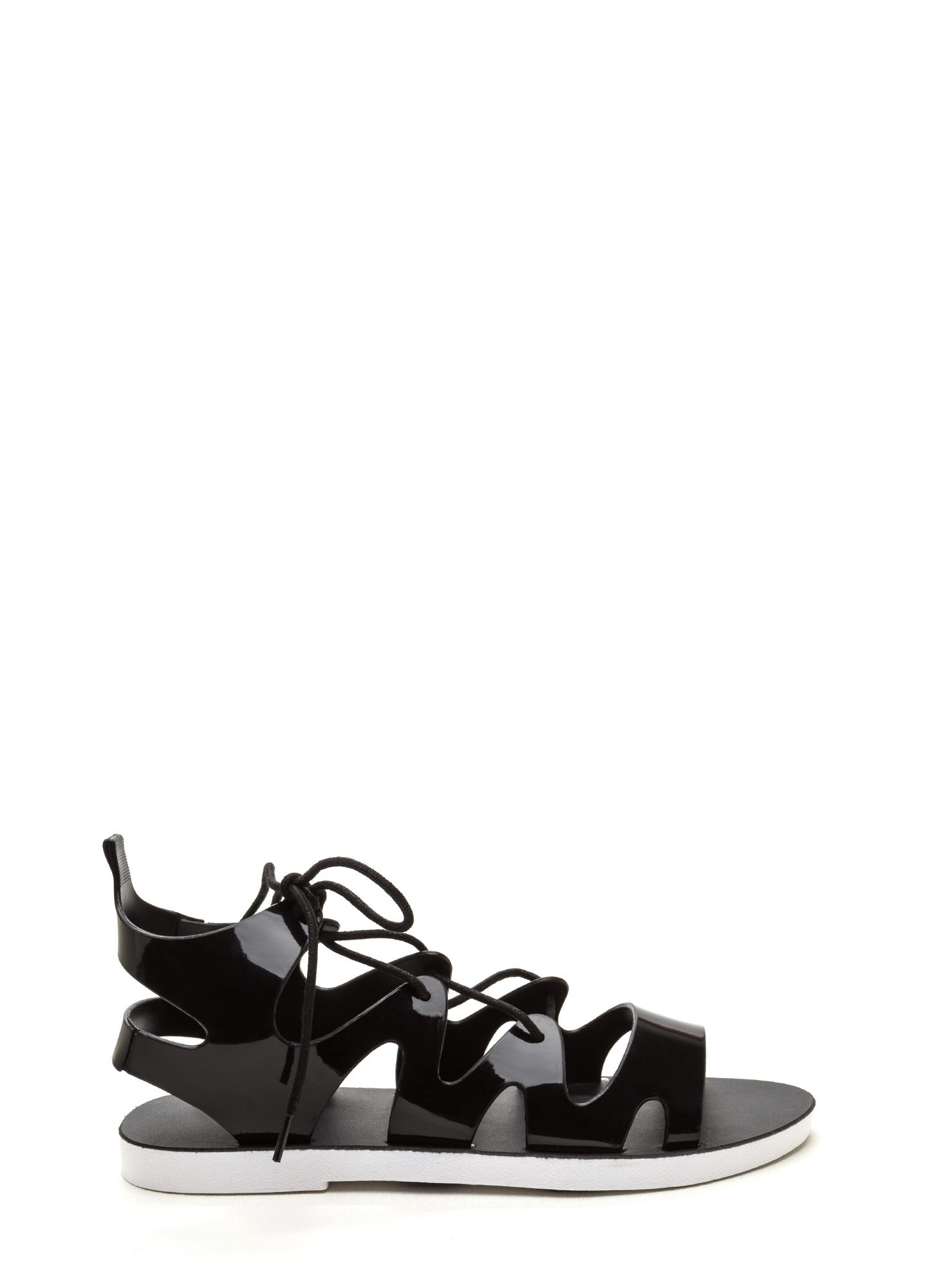 Do The Wave Lace-Up Jelly Sandals BLACK